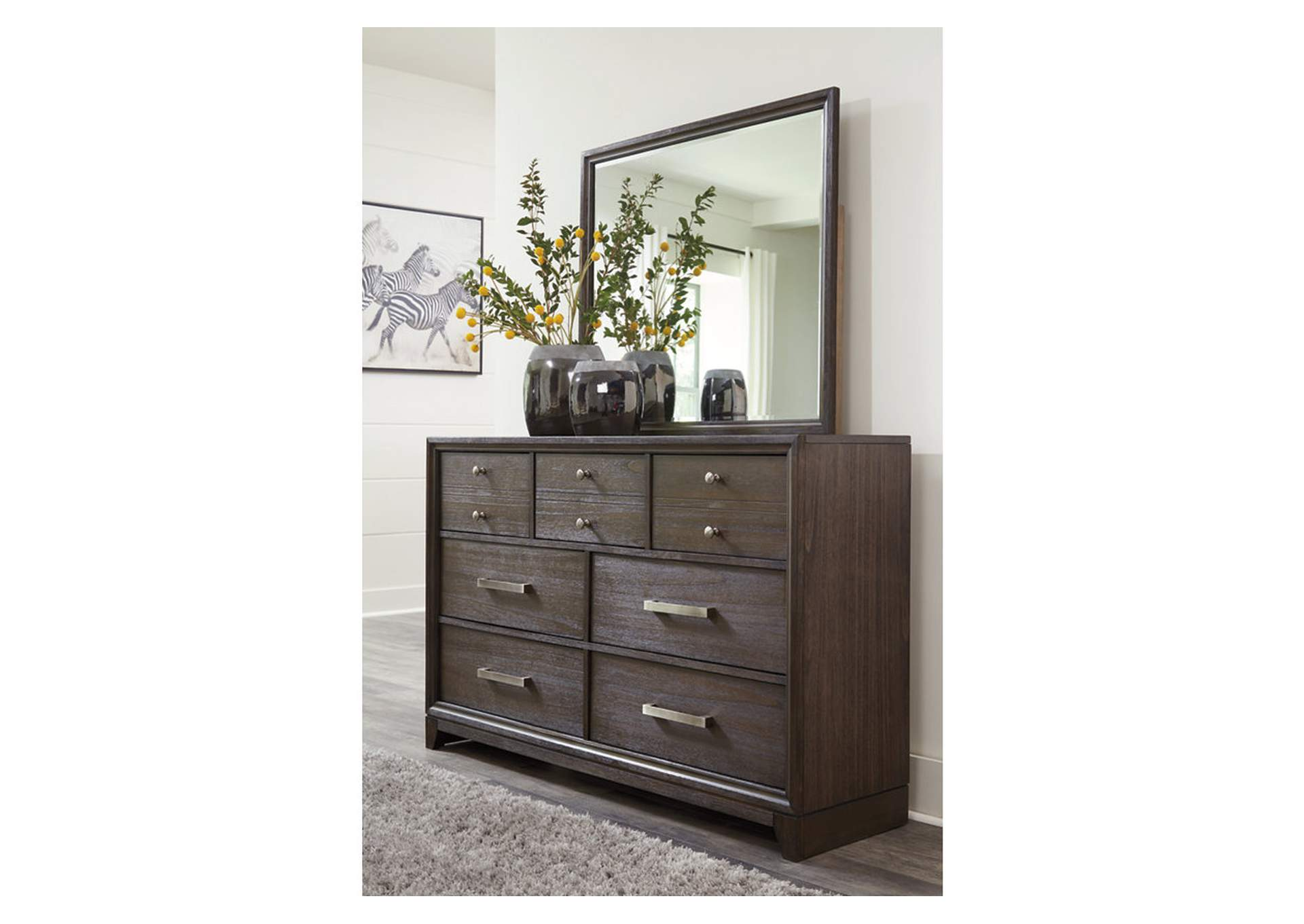 Brueban Gray Dresser and Mirror,Signature Design By Ashley