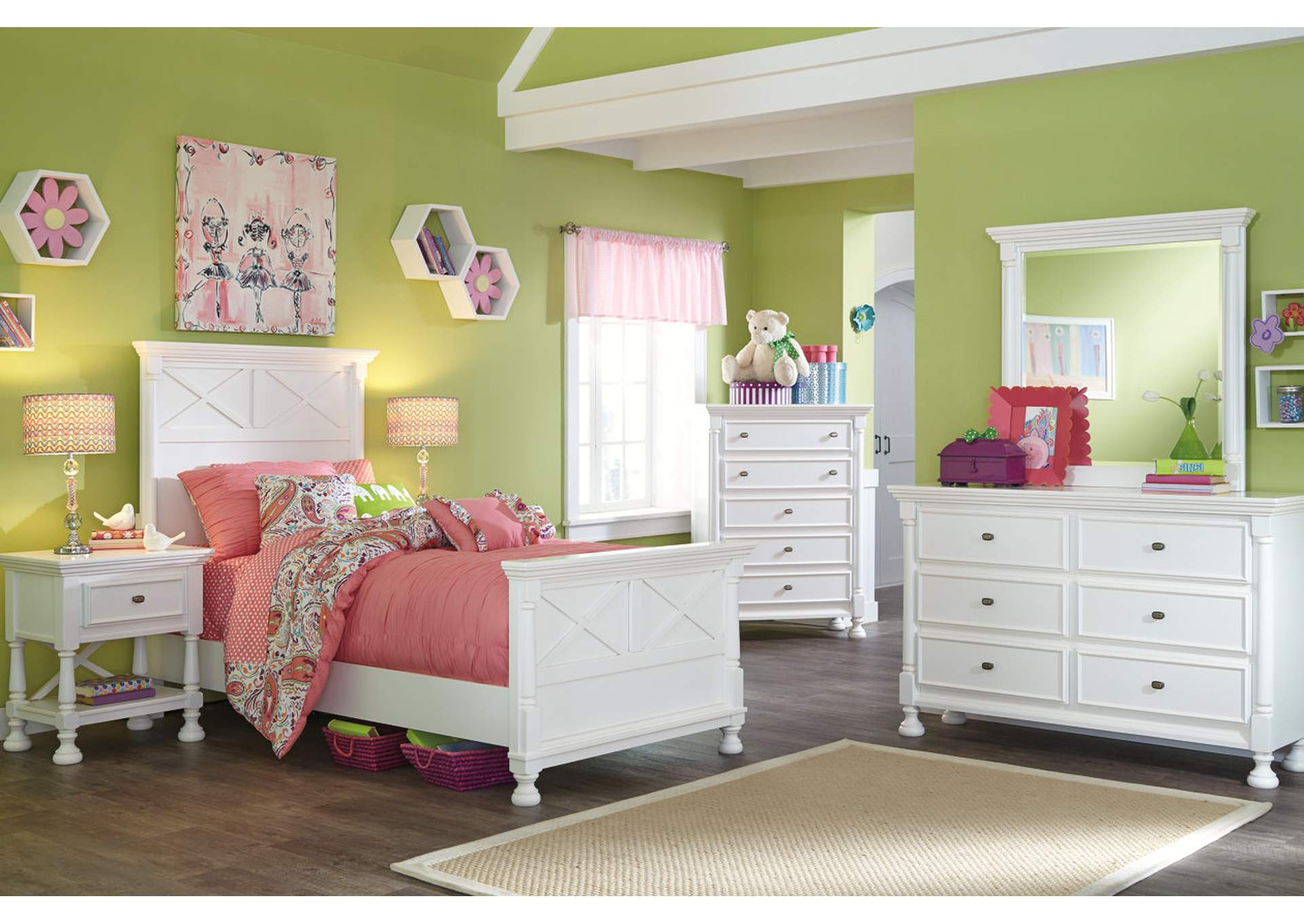 Kaslyn Twin Panel Bed, Dresser, Mirror, Chest & Night Stand,Signature Design By Ashley