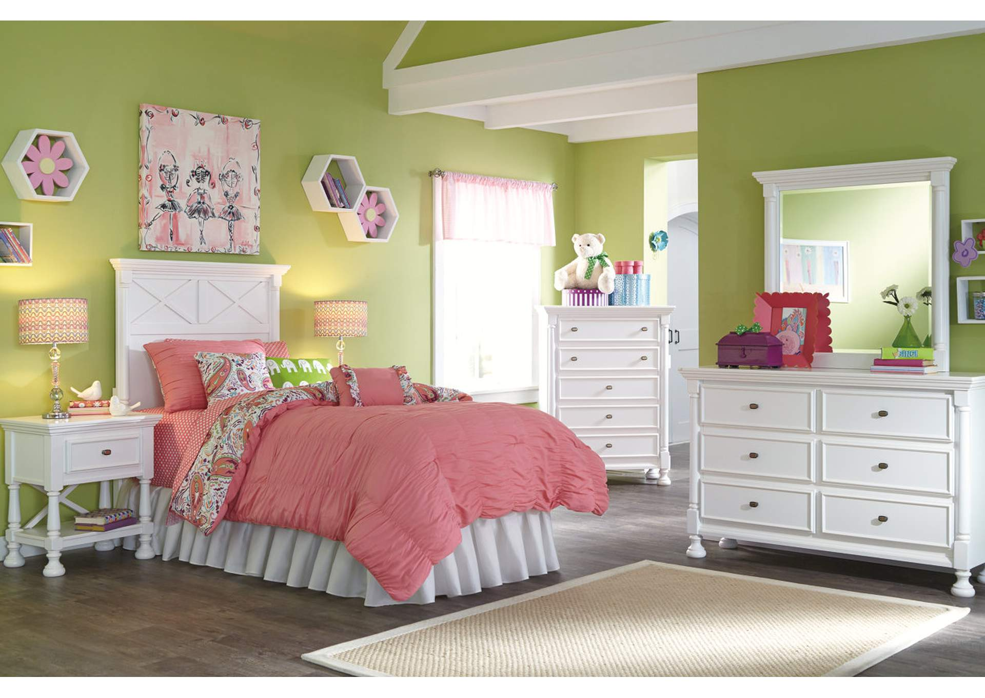 Kaslyn Twin Panel Headboard, Dresser, Mirror, Chest & Night Stand,Signature Design By Ashley