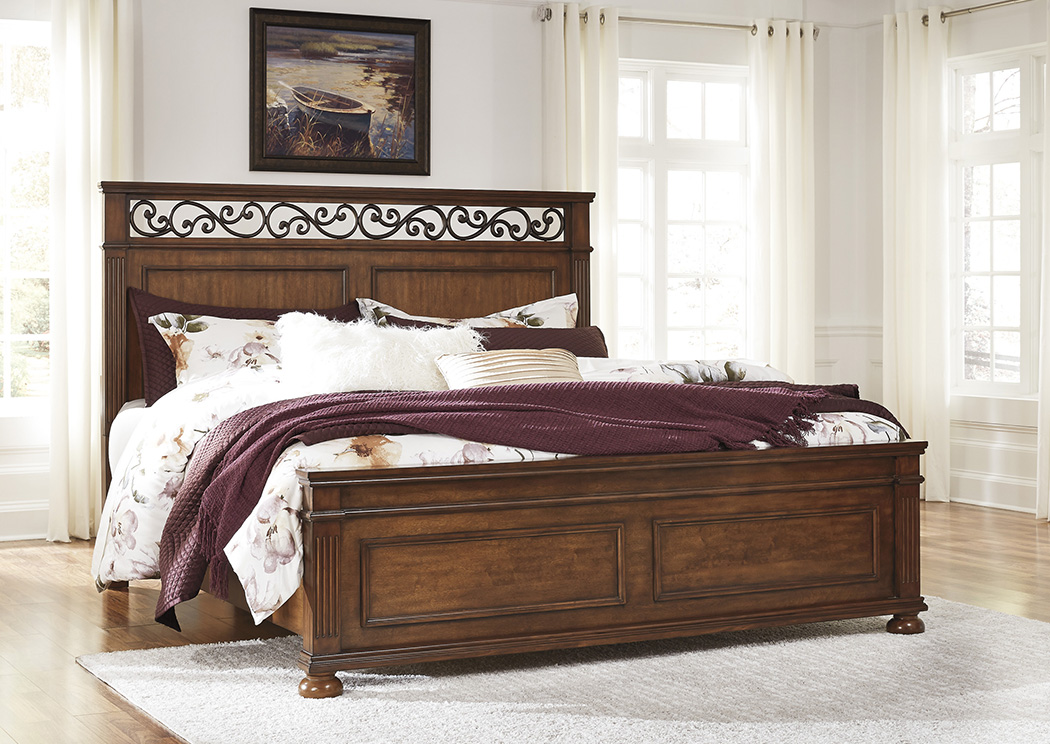 Lazzene Medium Brown California King Panel Bed,Signature Design By Ashley