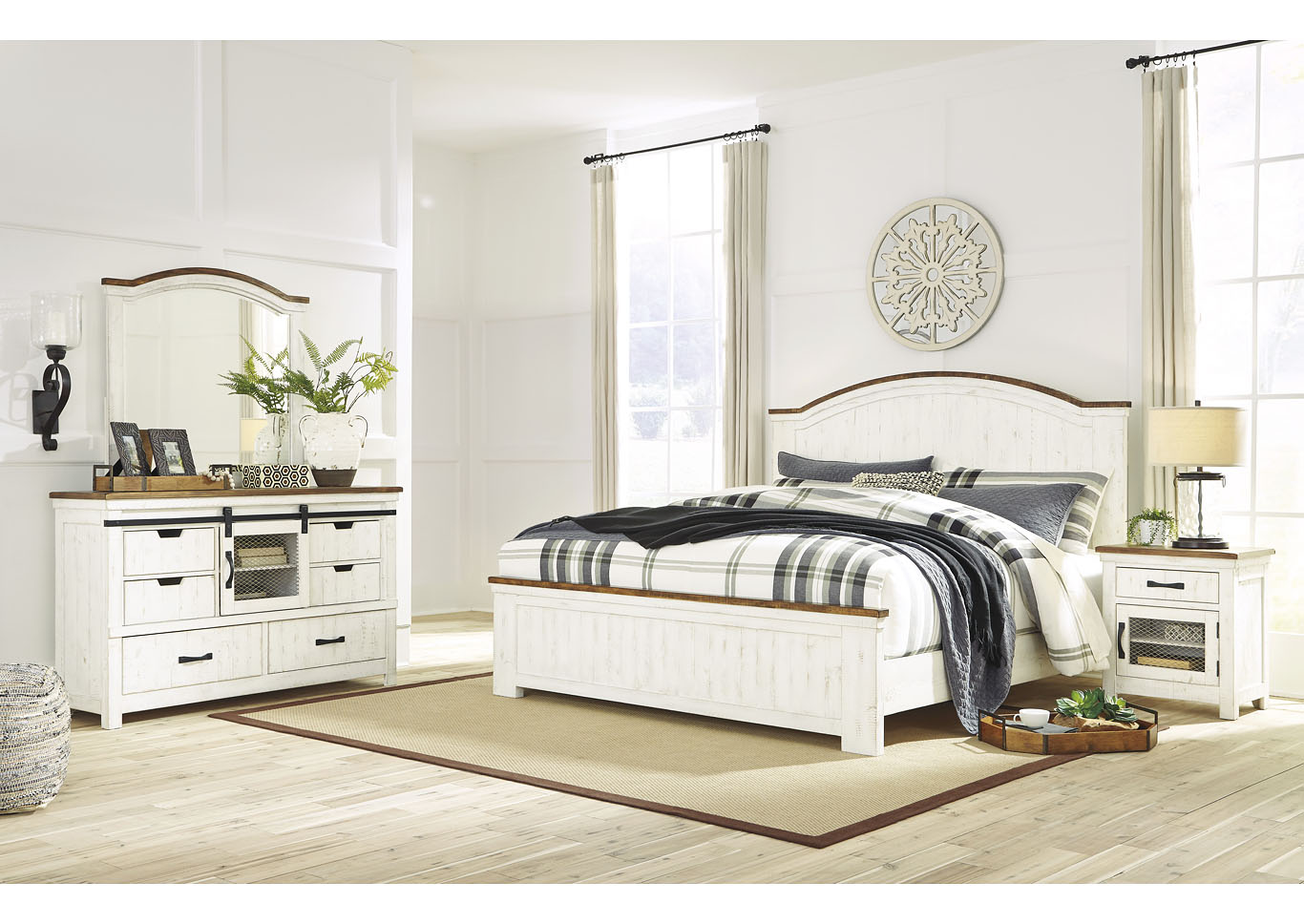 Wystfield White King Panel Bed w/Dresser & Mirror,Signature Design By Ashley