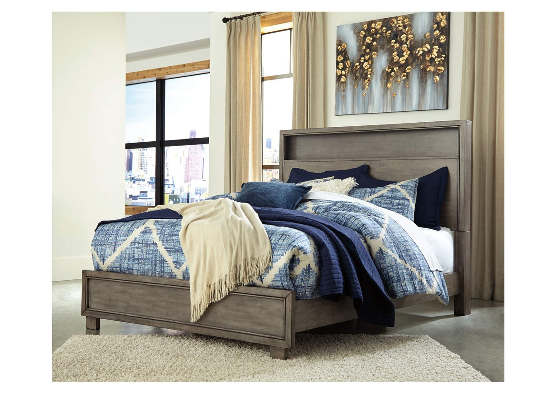 Arnett Gray King Panel Bed,Signature Design By Ashley