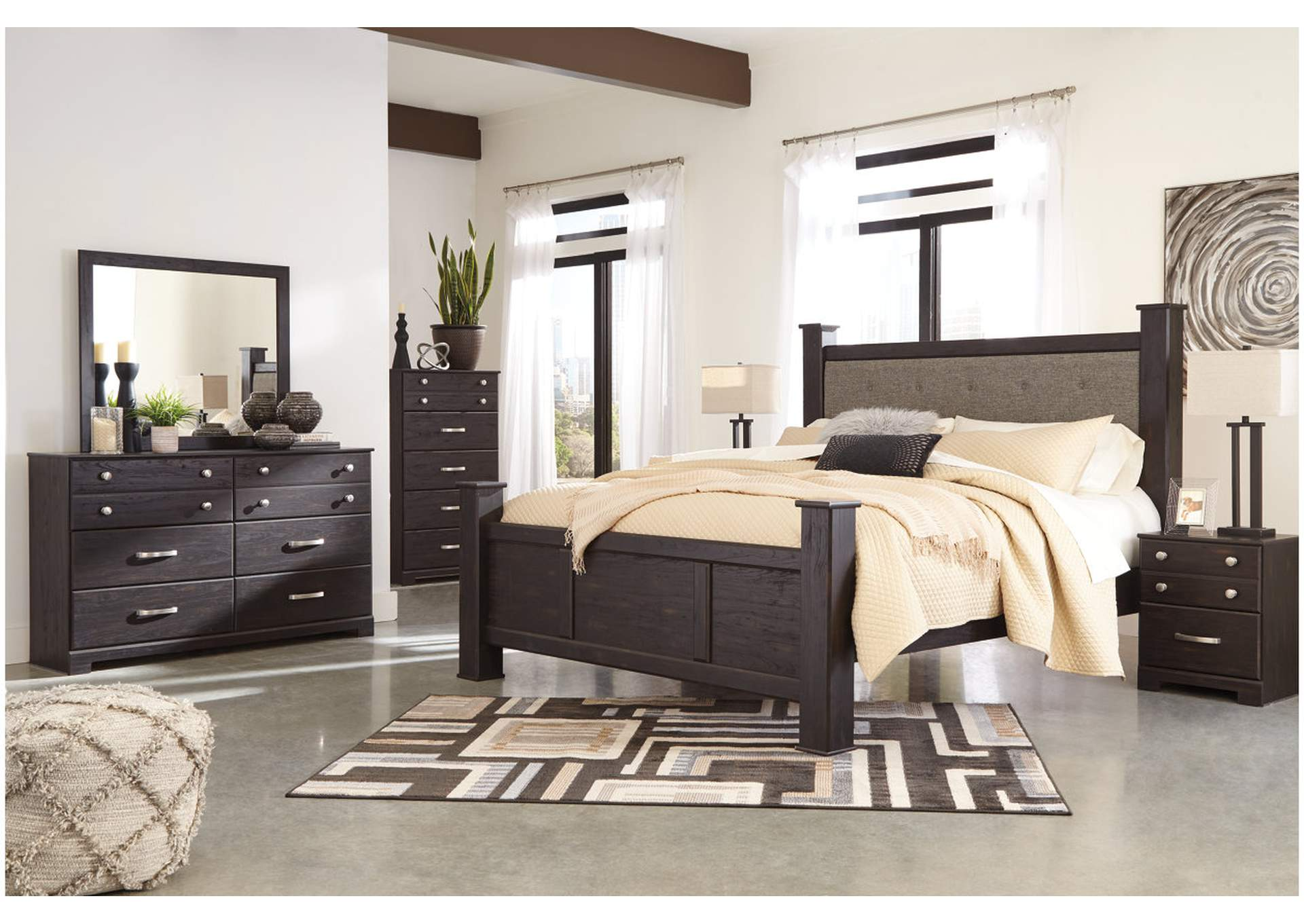 Reylow Dark Brown Queen Bed Set w/Queen Upholstered Poster Bed and Dresser w/Mirror,Signature Design By Ashley