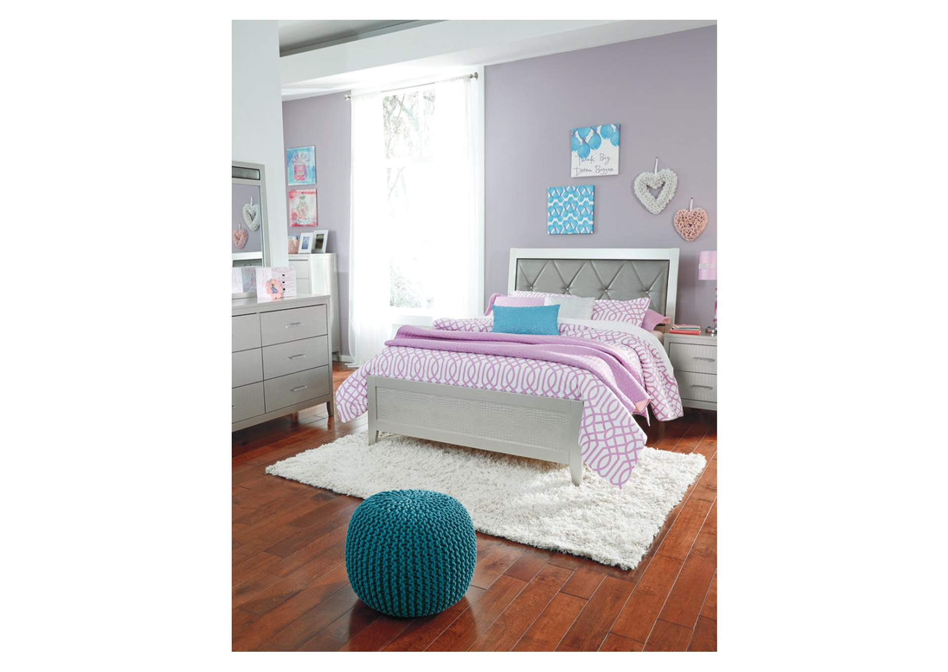 Olivet Silver Full Upholstered Panel Bed w/Dresser, Mirror & Drawer Chest,Signature Design By Ashley