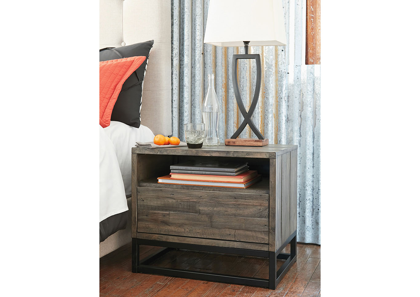 Cazentine Grayish Brown One Drawer Night Stand,Signature Design By Ashley