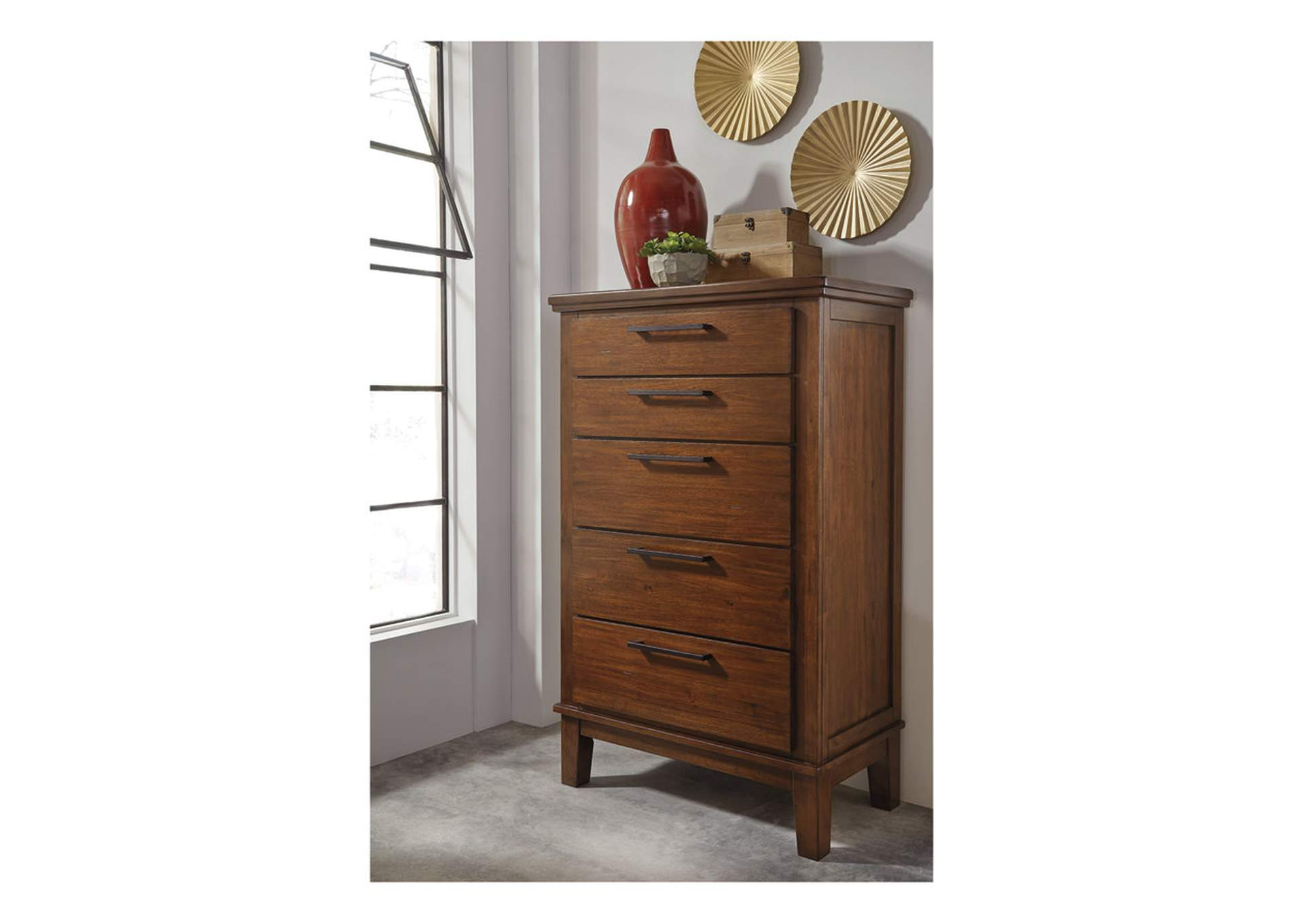 Ralene Medium Brown Five Drawer Chest,Signature Design By Ashley