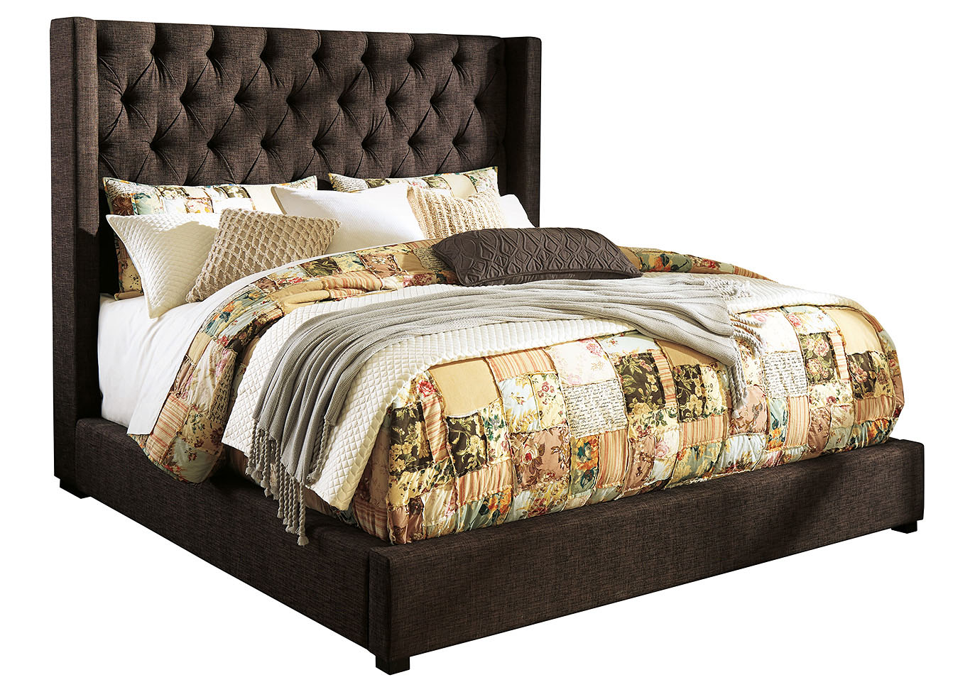 Norrister Brown King Upholstered Platform Bed,Signature Design By Ashley