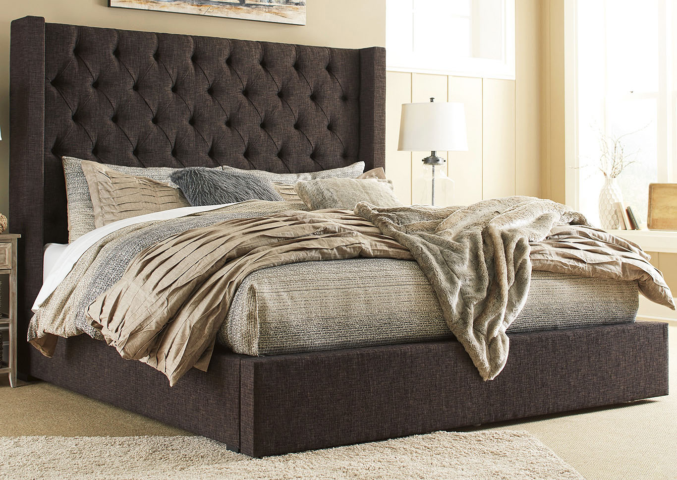 Norrister Brown California King Upholstered Storage Bed,Signature Design By Ashley