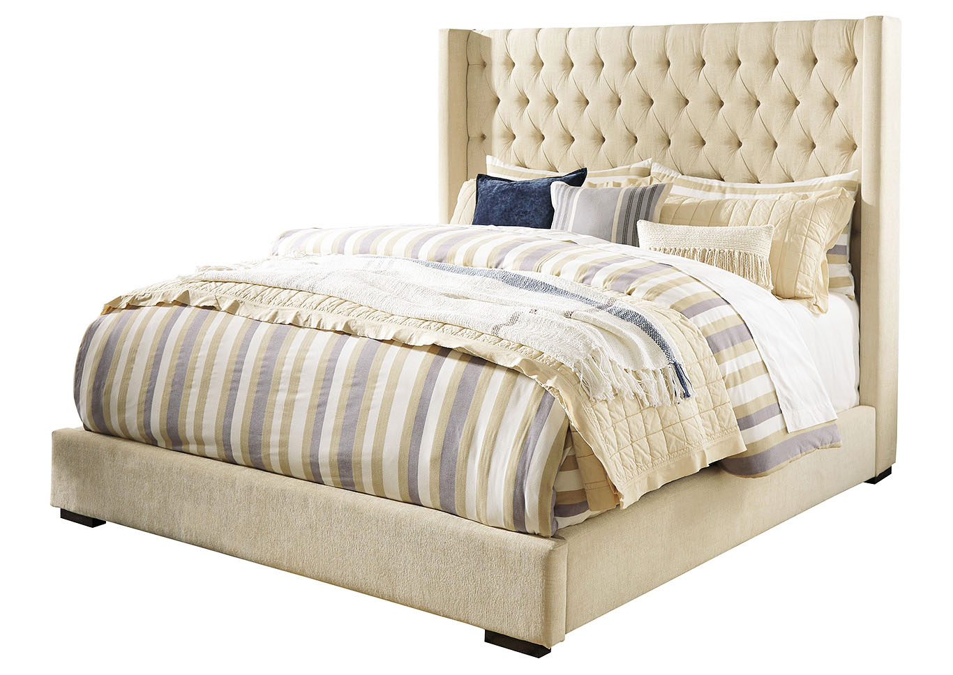 Norrister Beige Upholstered California King Platform Bed,Signature Design By Ashley