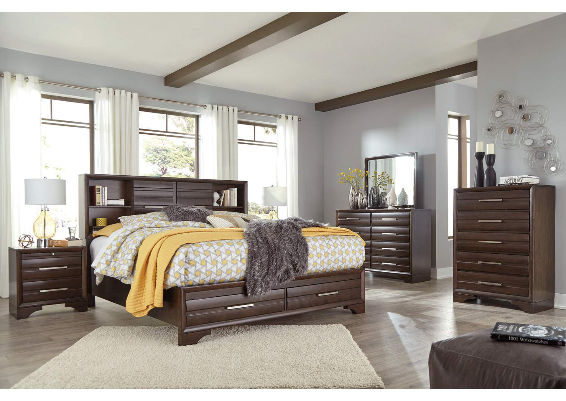 Andriel Dark Brown Queen Bookcase Storage Bed,Benchcraft