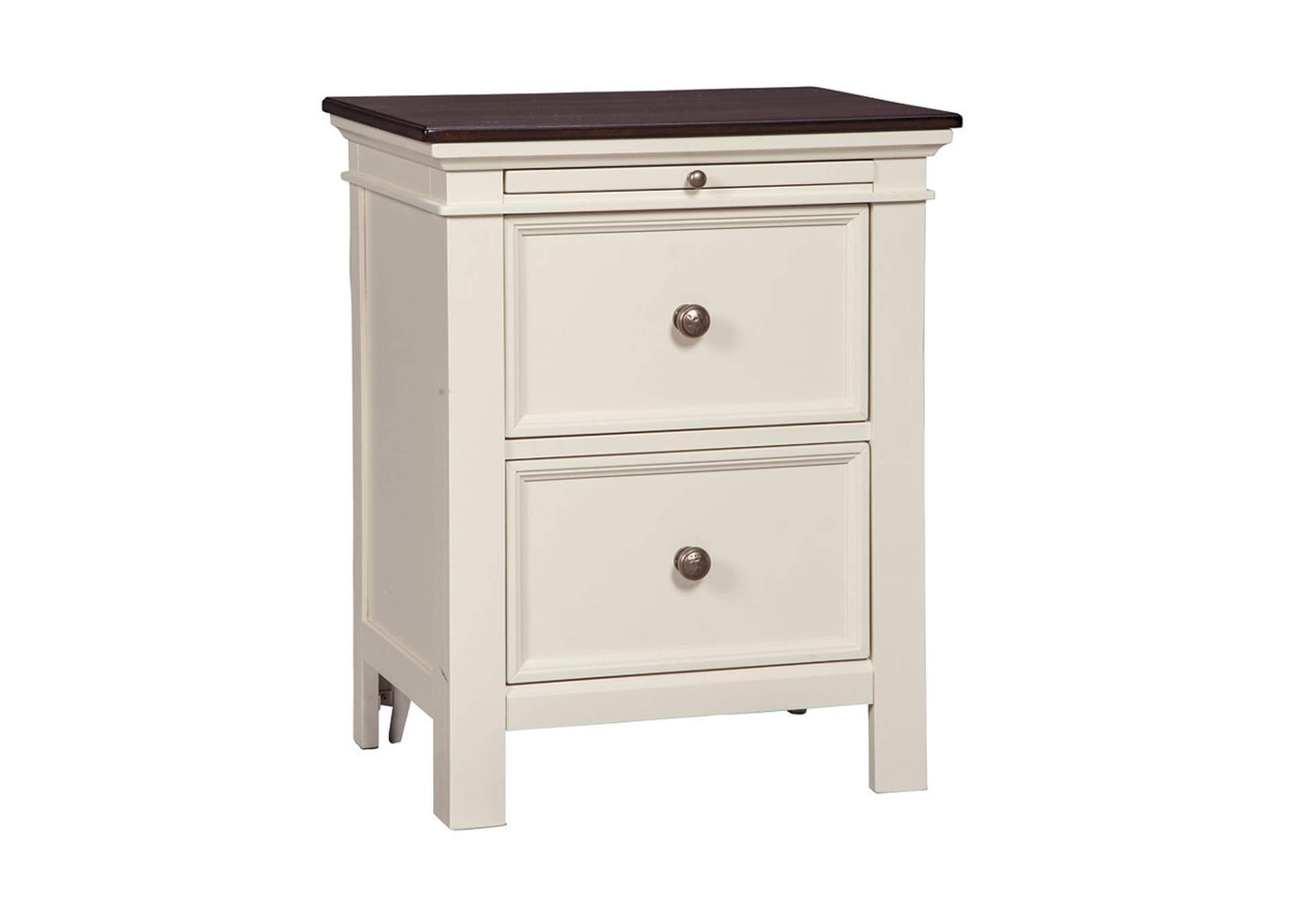 Woodanville White/Brown Two Drawer Night Stand,Signature Design By Ashley