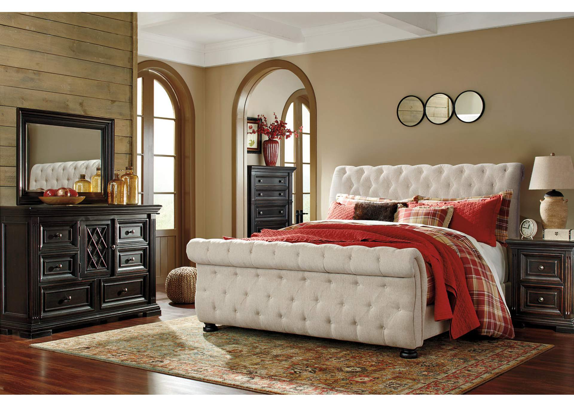 Willenburg Dark Brown King Upholstered Bed,Signature Design By Ashley