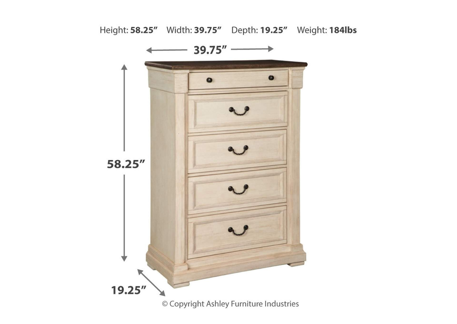 Bolanburg Antique White Five Drawer Chest,Signature Design By Ashley