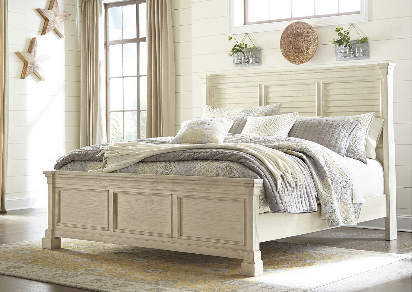 Bolanburg White Queen Louvered Bed,Signature Design By Ashley
