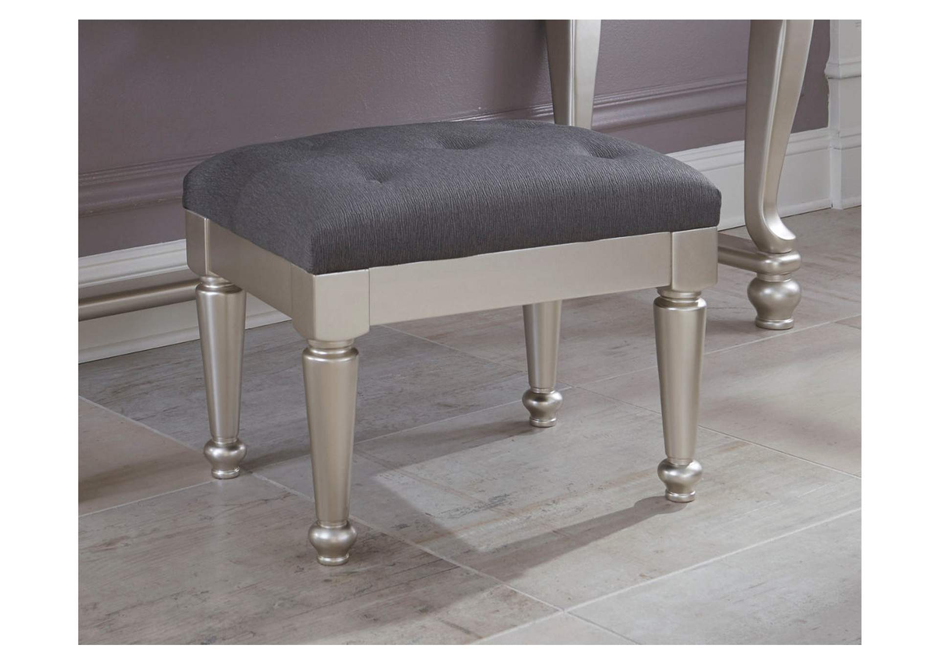 Coralayne Silver Upholstered Stool,Signature Design By Ashley