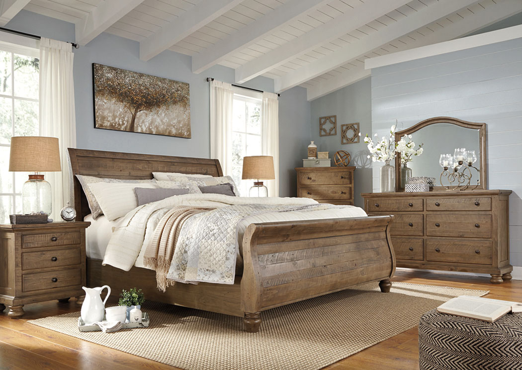 Trishley Light Brown Queen Sleigh Bed w/Dresser, Mirror & Drawer Chest,Signature Design By Ashley