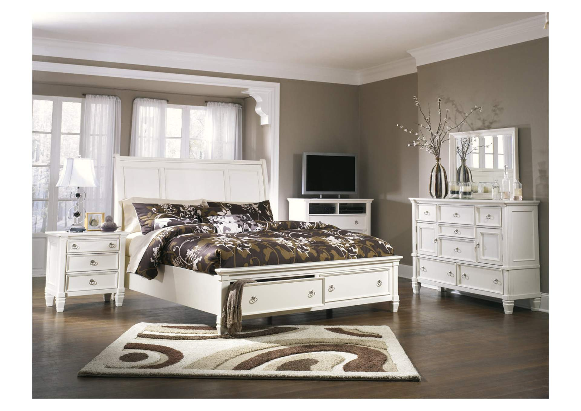 Prentice White Queen Storage Sleigh Bed, Dresser & Mirror,Millennium