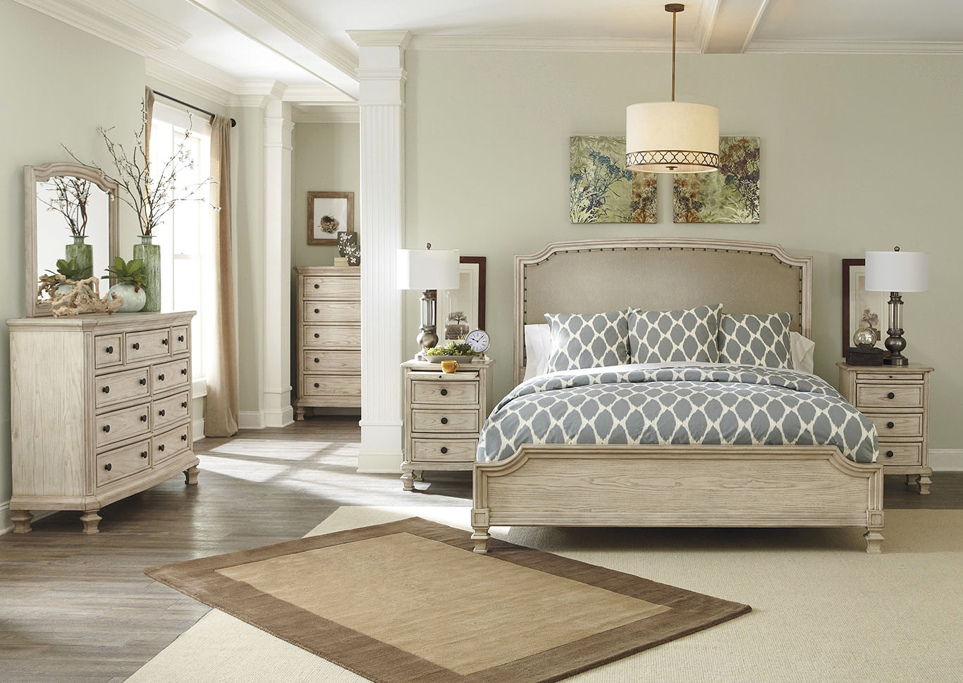 Demarlos Queen Upholstered Panel Bed w/Dresser, Mirror, Drawer Chest & Night Table,Signature Design By Ashley