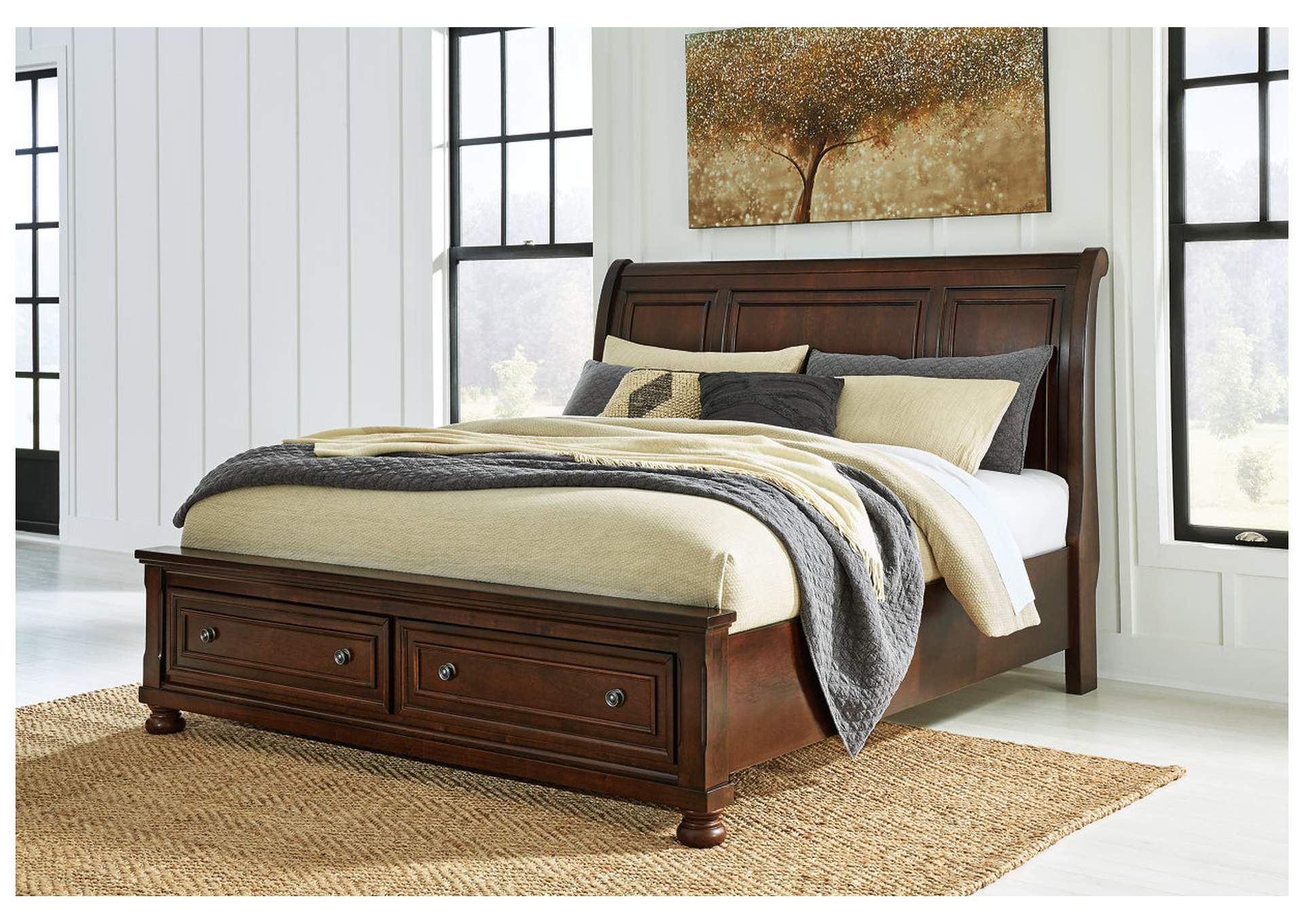 Porter King Sleigh Storage Bed,Millennium