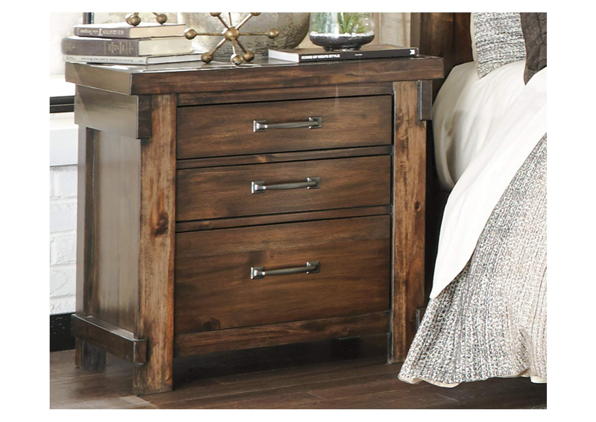 Lakeleigh Brown Three Drawer Night Stand,Signature Design By Ashley