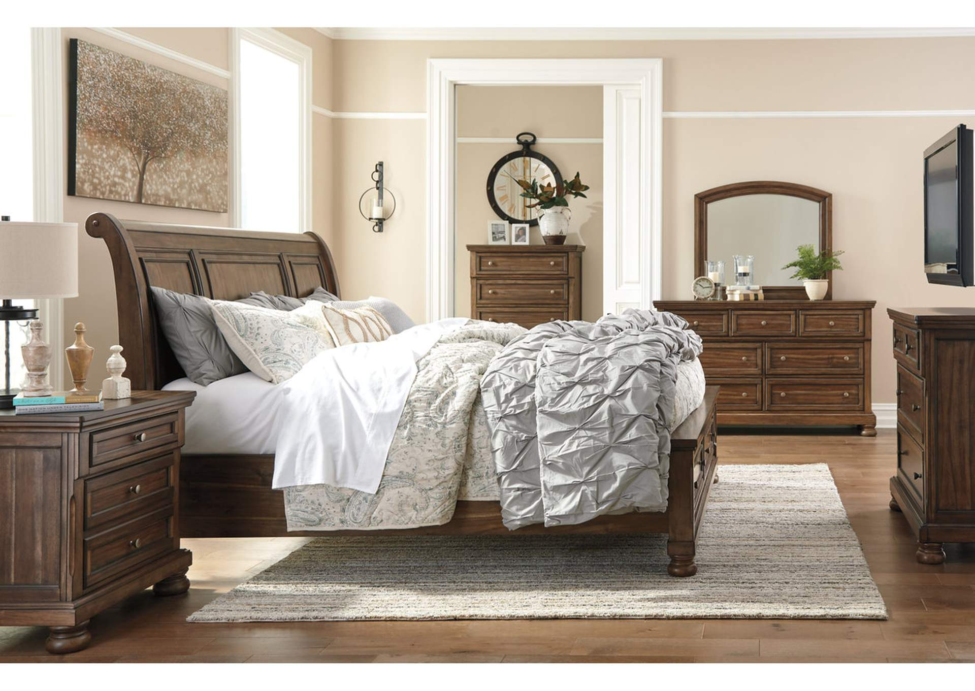 Flynnter Medium Brown California King Sleigh Storage Bed,Signature Design By Ashley