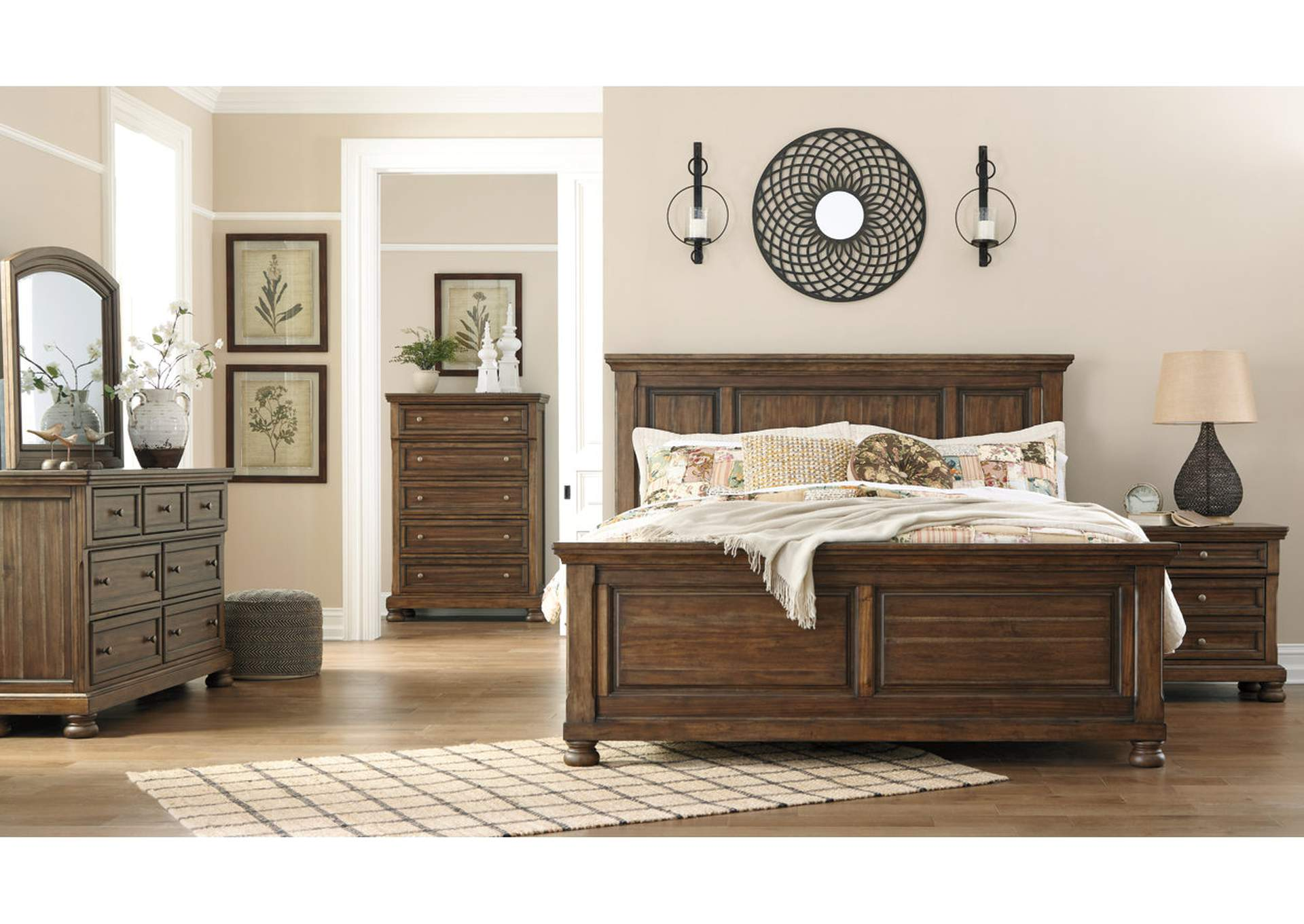 Flynnter Medium Brown King Panel Bed,Signature Design By Ashley