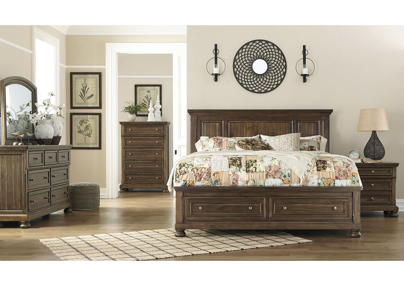 Flynnter Medium Brown Queen Sleigh Storage Bed,Signature Design By Ashley