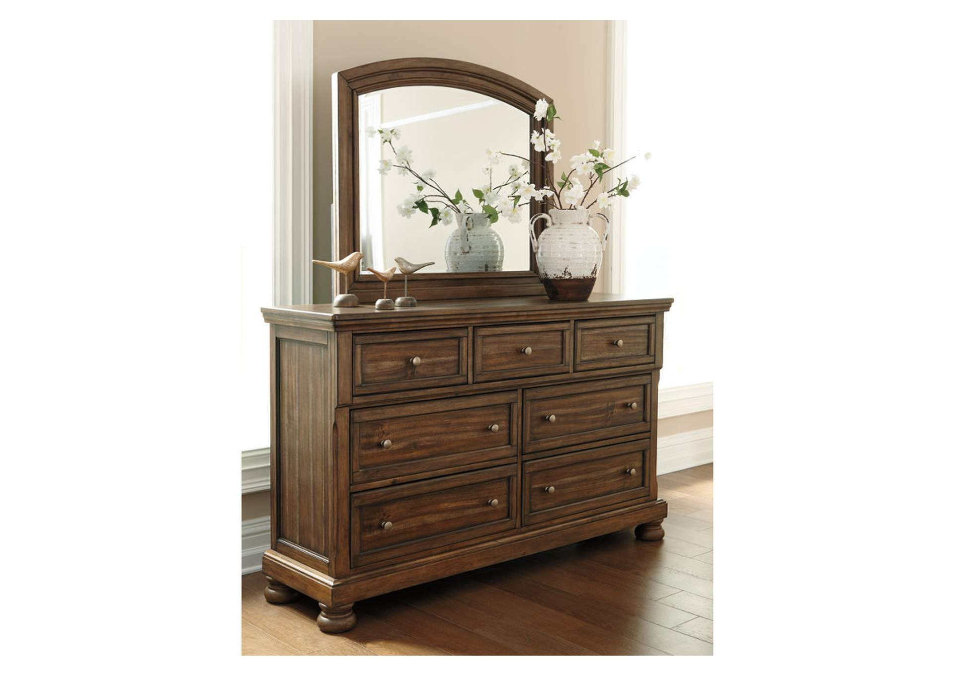 Flynnter Medium Brown Dresser w/Mirror,Signature Design By Ashley