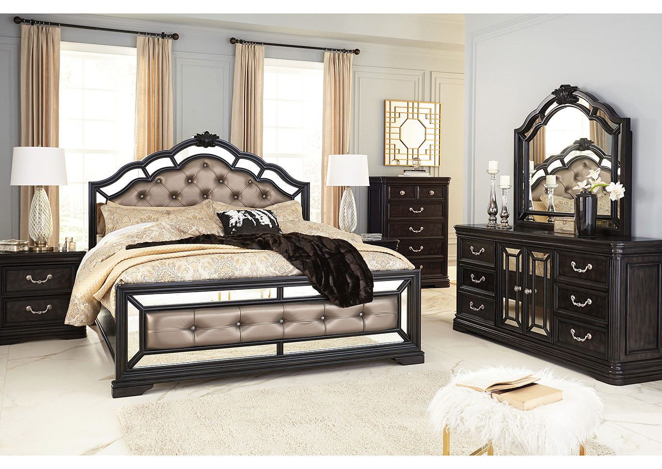 Quinshire Dark Brown Queen Panel Bed w/Dresser & Mirror,Signature Design By Ashley