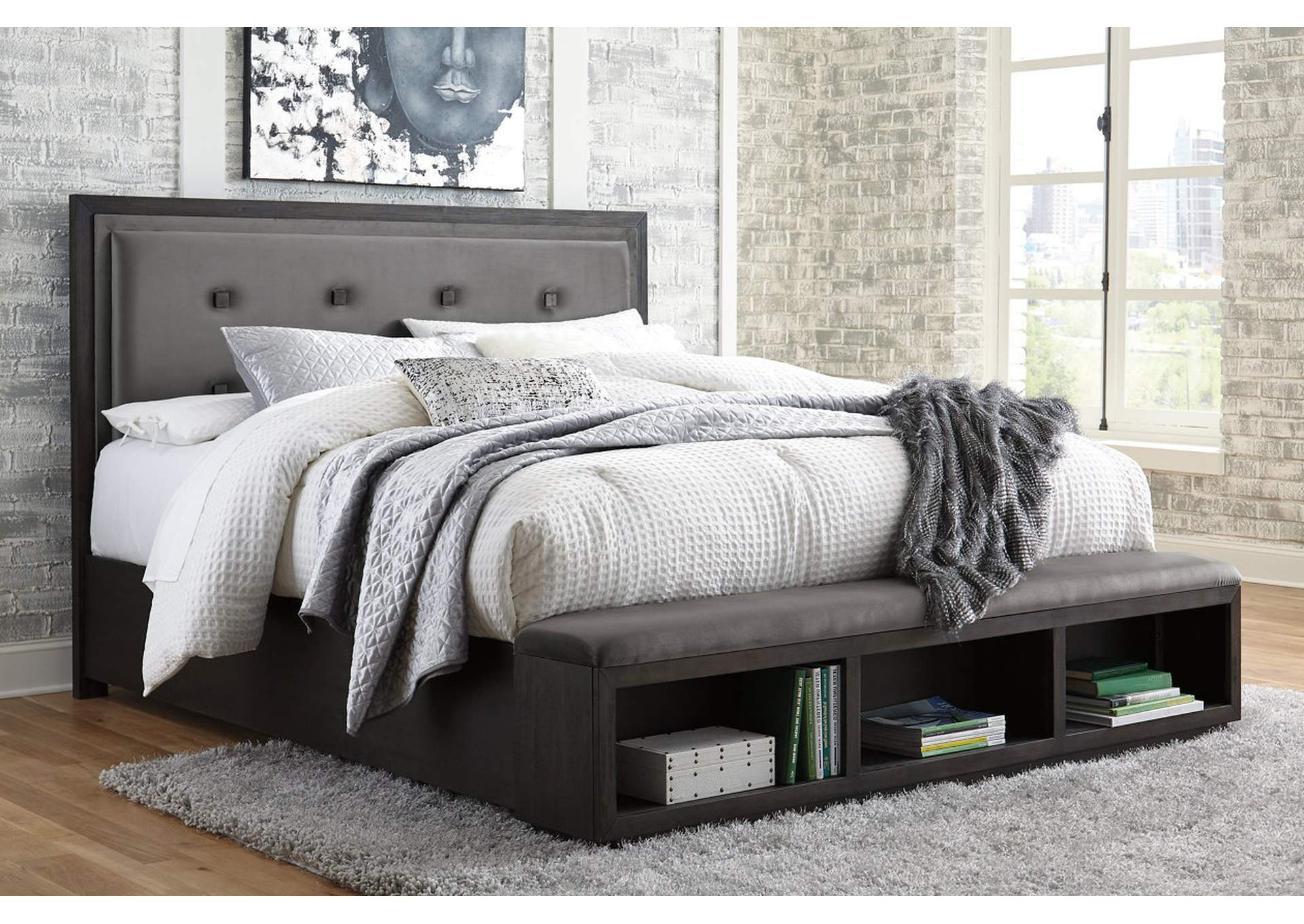Hyndell Dark Brown California King Upholstered Storage Bed,Signature Design By Ashley