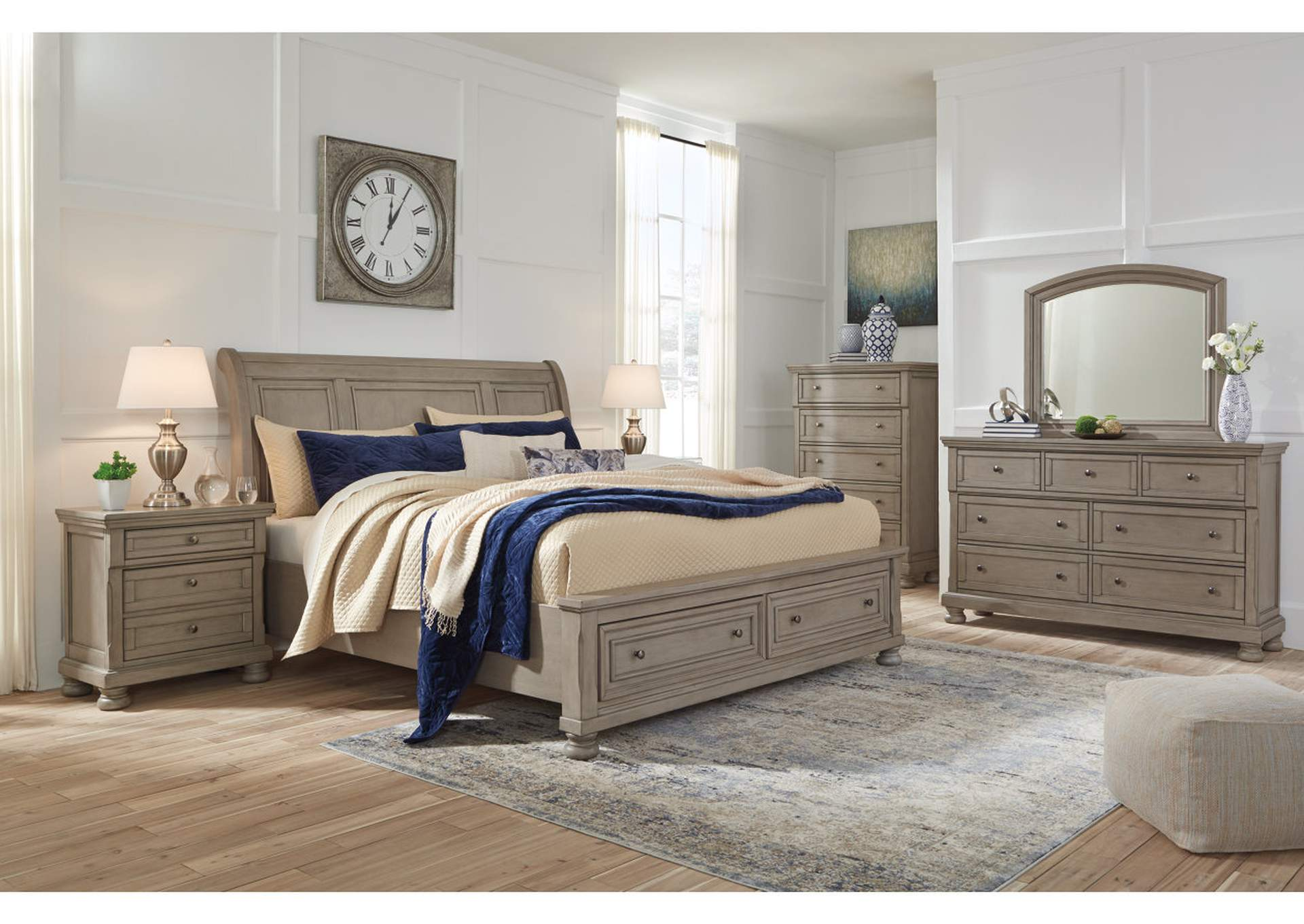 Lettner Light Gray California King Sleigh Storage Bed w/Dresser and Mirror,Signature Design By Ashley