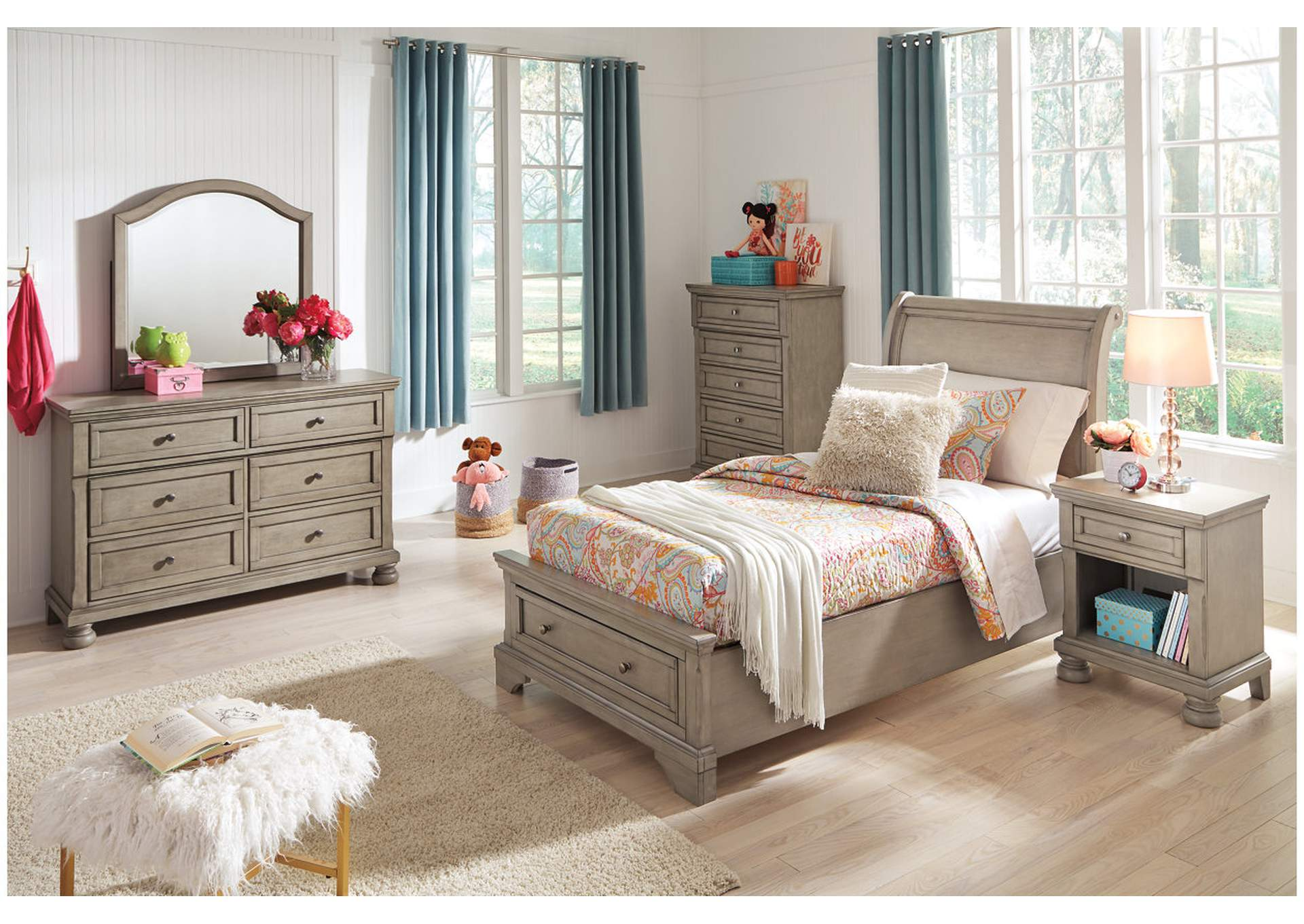 Lettner Light Gray Twin Sleigh Storage Bed w/Dresser and Mirror,Signature Design By Ashley