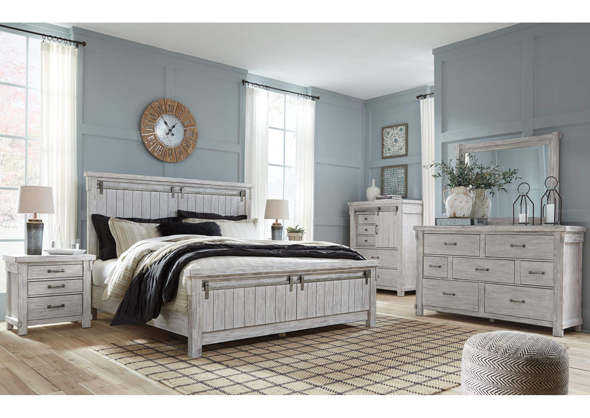 Brashland White King Panel Bed w/Dresser and Mirror,Signature Design By Ashley