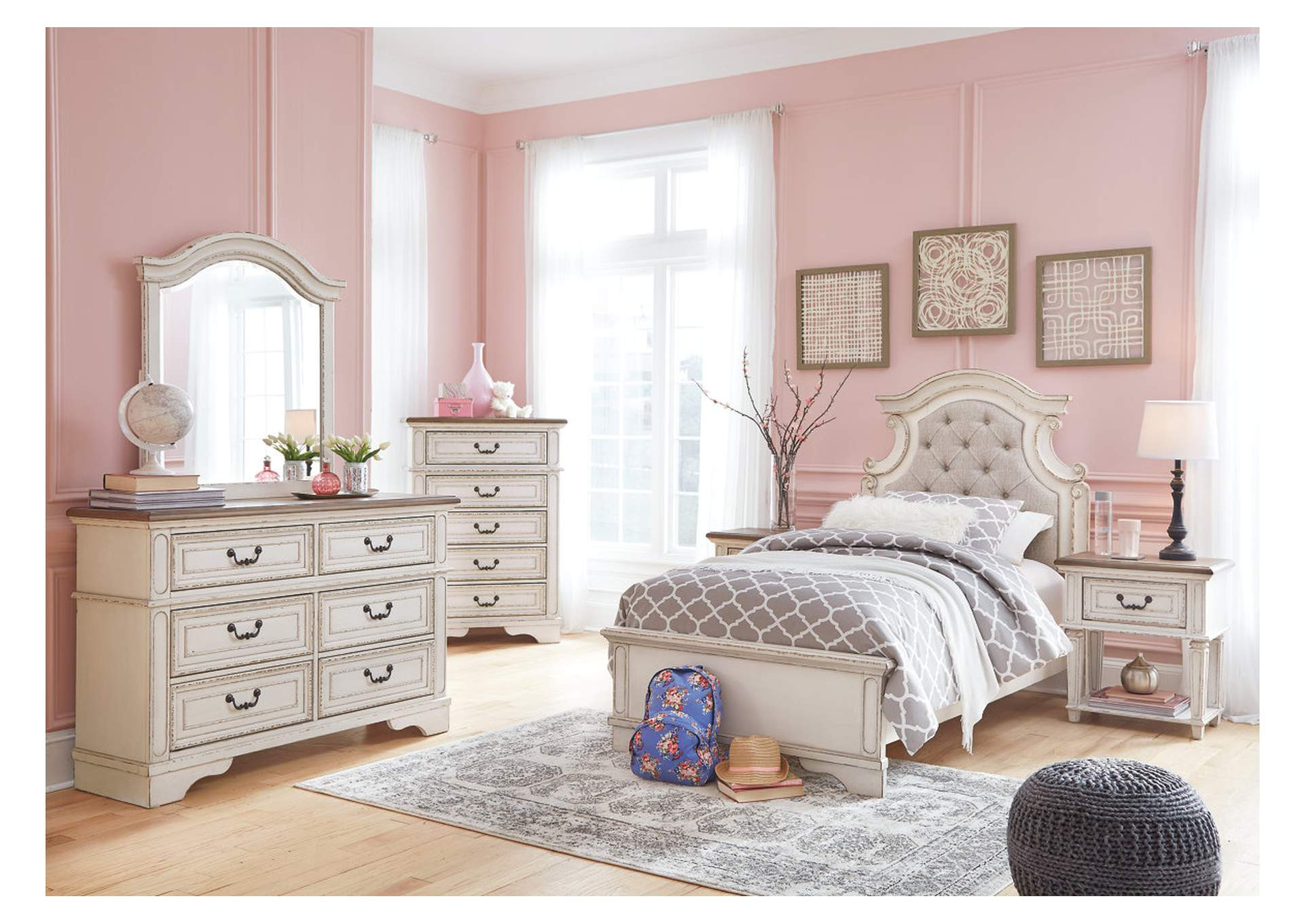 Realyn Chipped White Twin Panel Bed w/Dresser & Mirror,Signature Design By Ashley