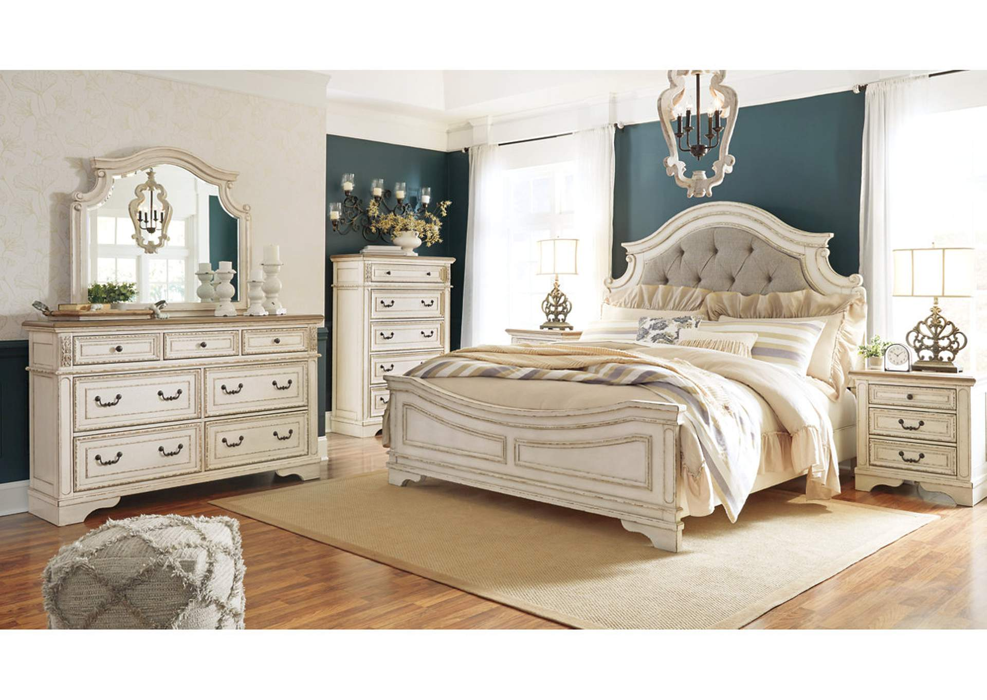 Realyn Chipped White King Panel Bed and Dresser w/Mirror,Signature Design By Ashley