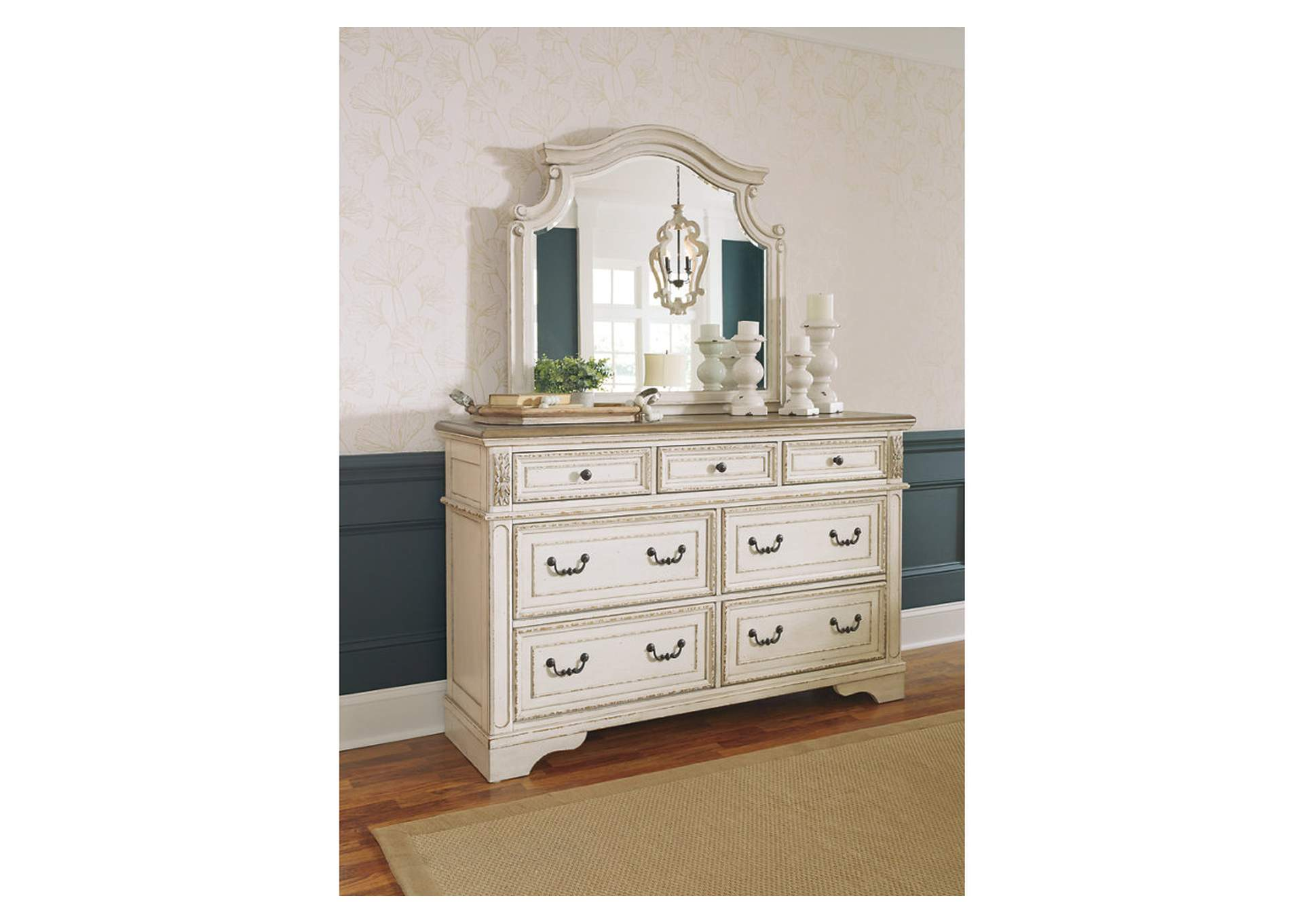 Realyn White/Brown Two-Tone Dresser w/Mirror,Signature Design By Ashley
