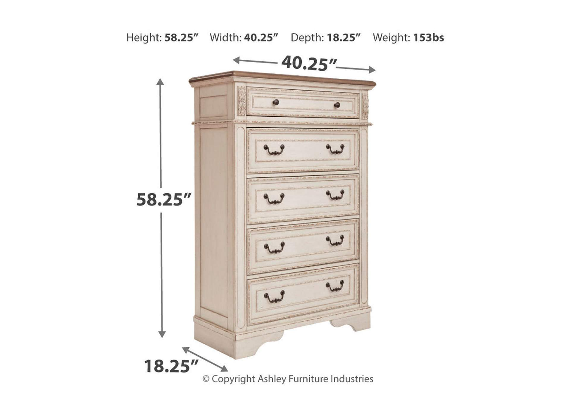 Realyn Two-Tone Five Drawer Chest,Signature Design By Ashley