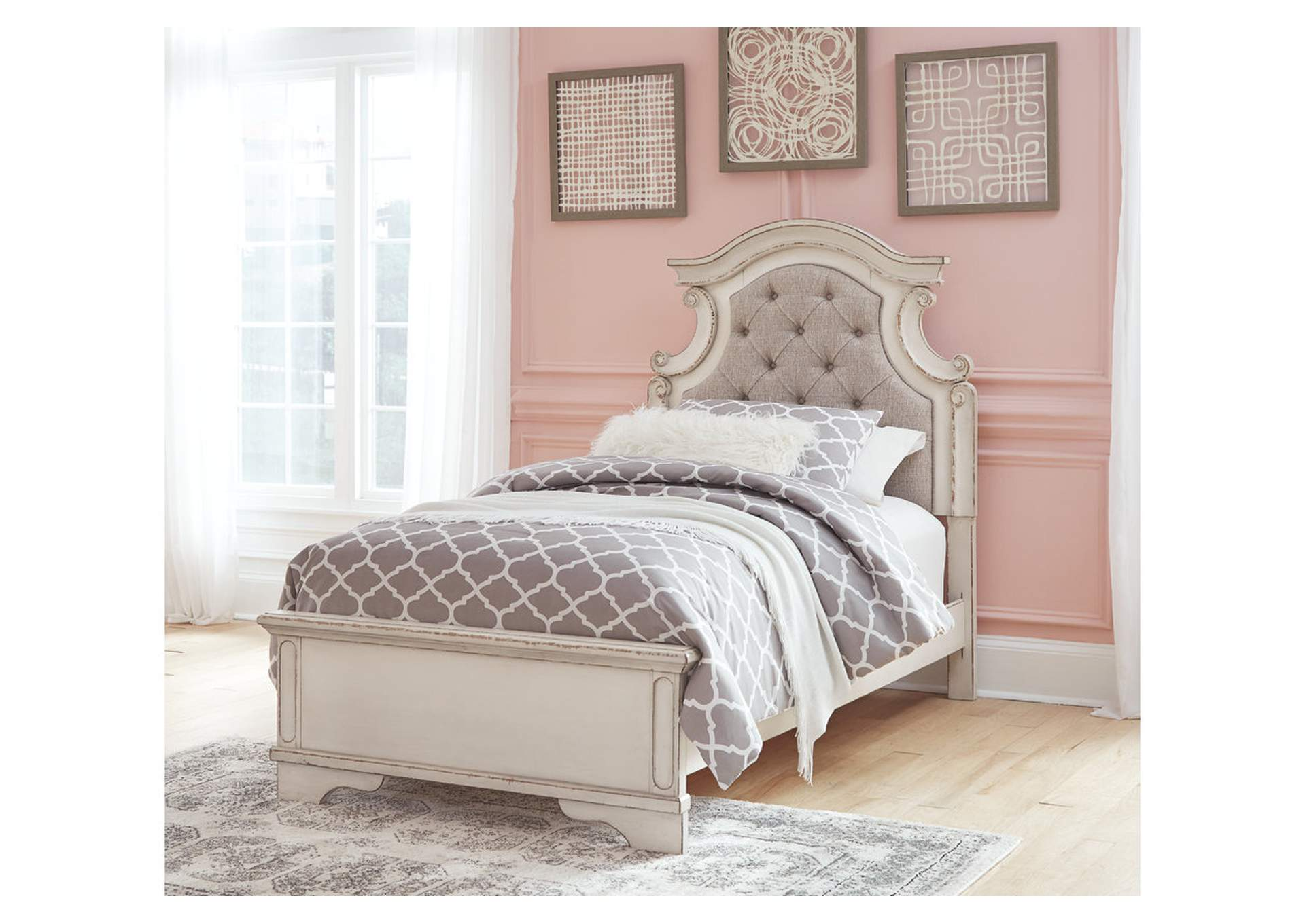 Realyn Chipped White Twin Panel Bed,Signature Design By Ashley