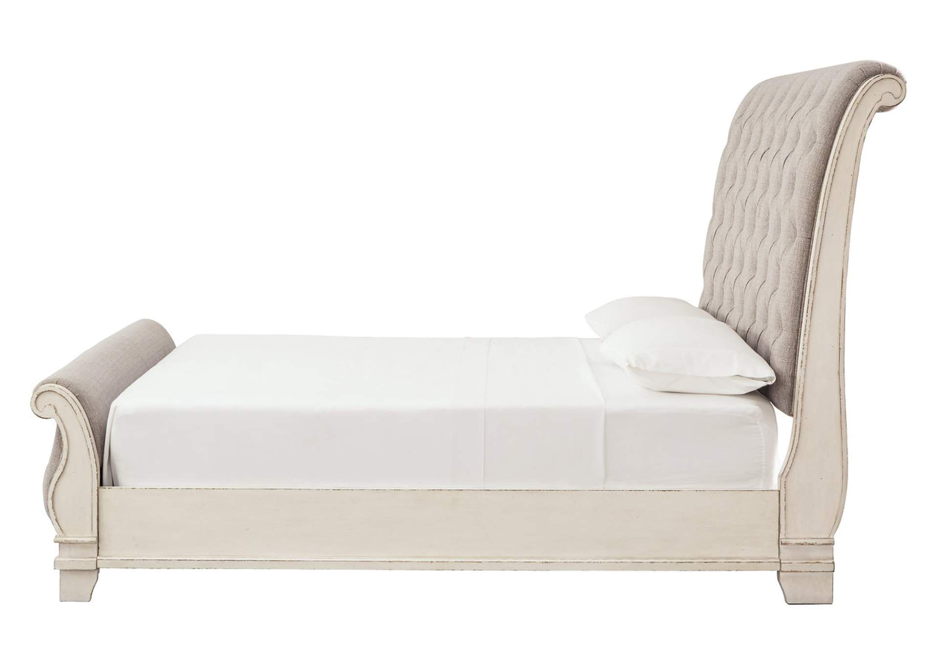 Realyn Chipped White Queen Sleigh Bed,Signature Design By Ashley
