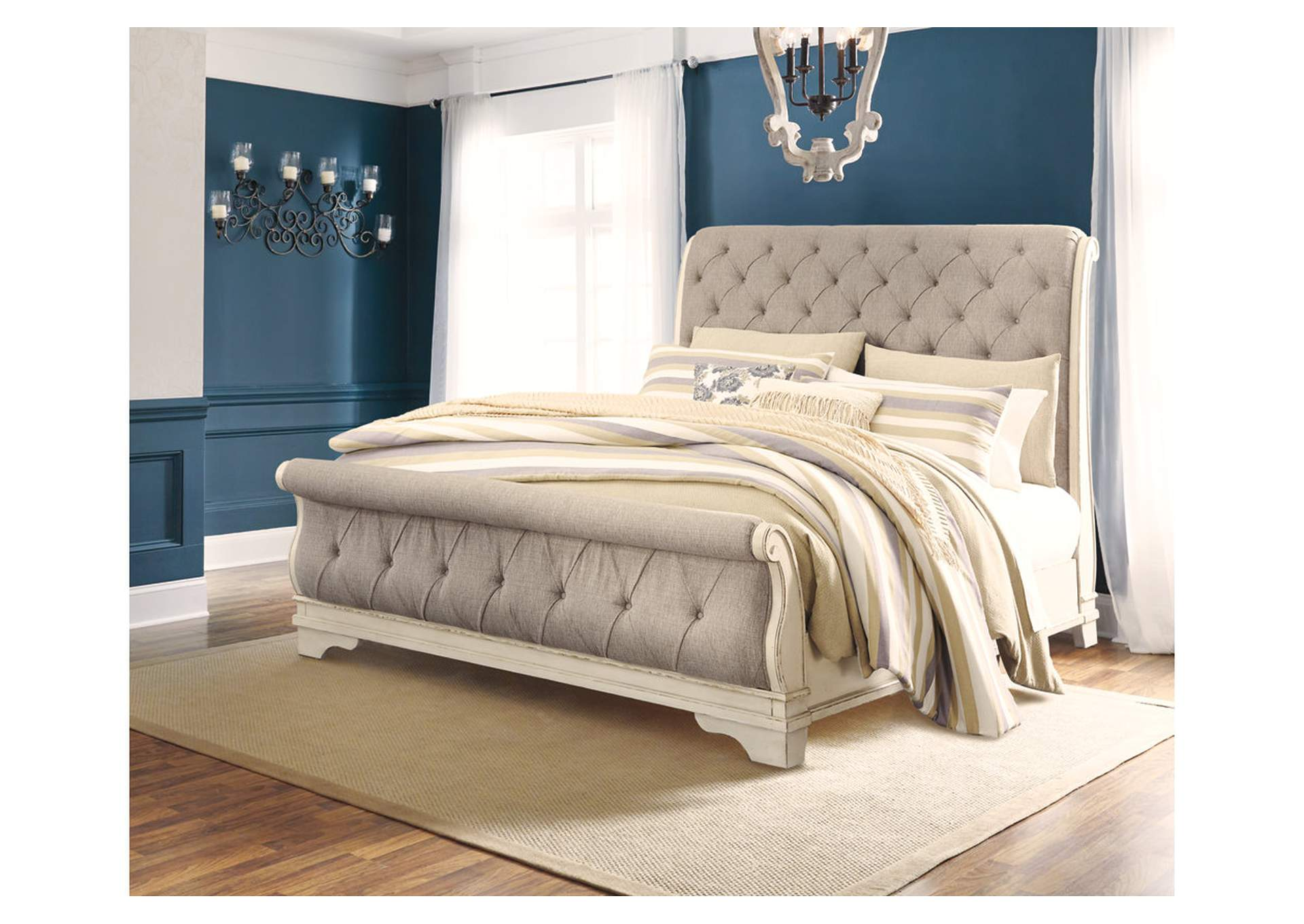 Realyn Chipped White King Sleigh Bed,Signature Design By Ashley
