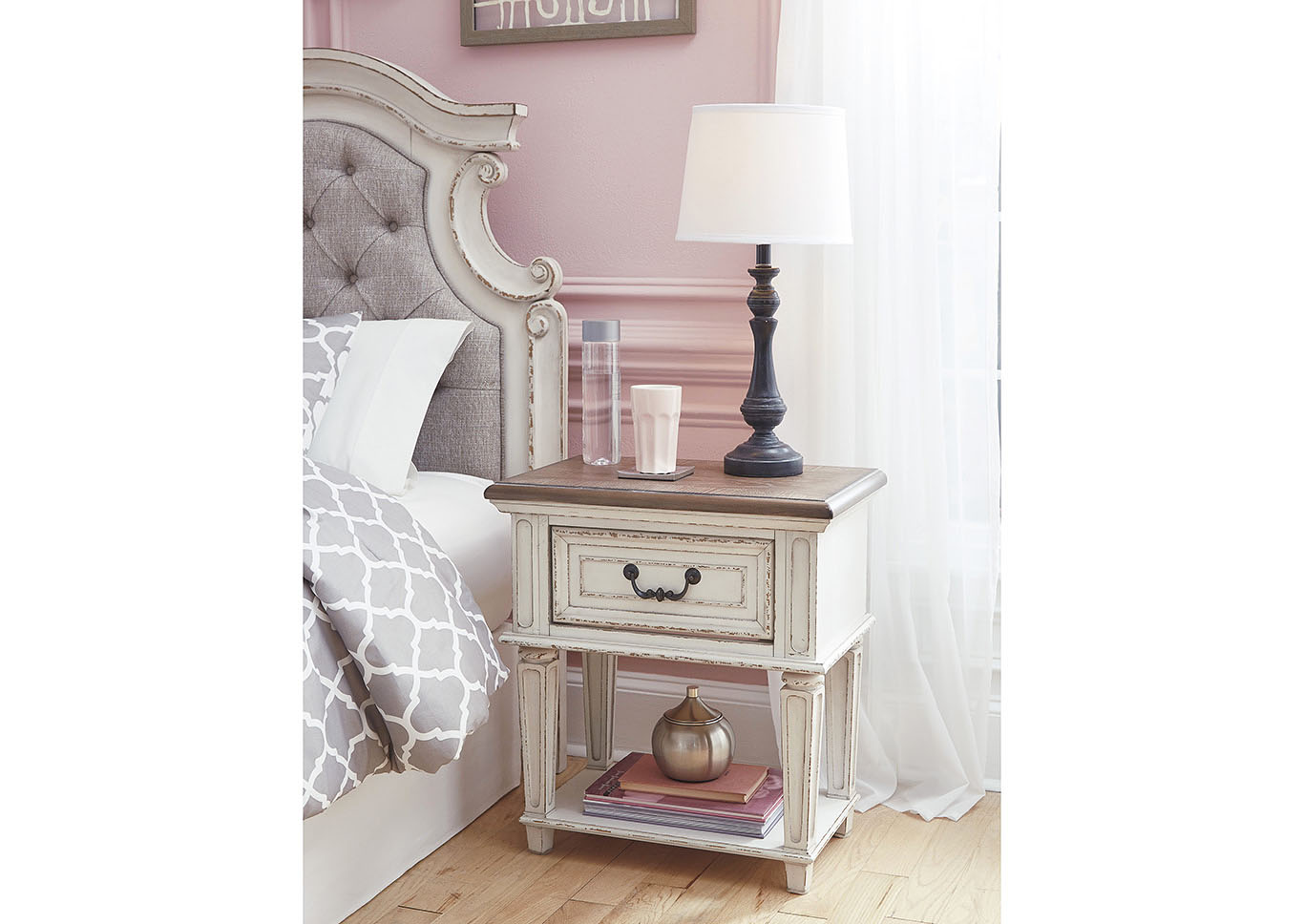 Realyn Chipped White Nightstand,48 Hour Quick Ship