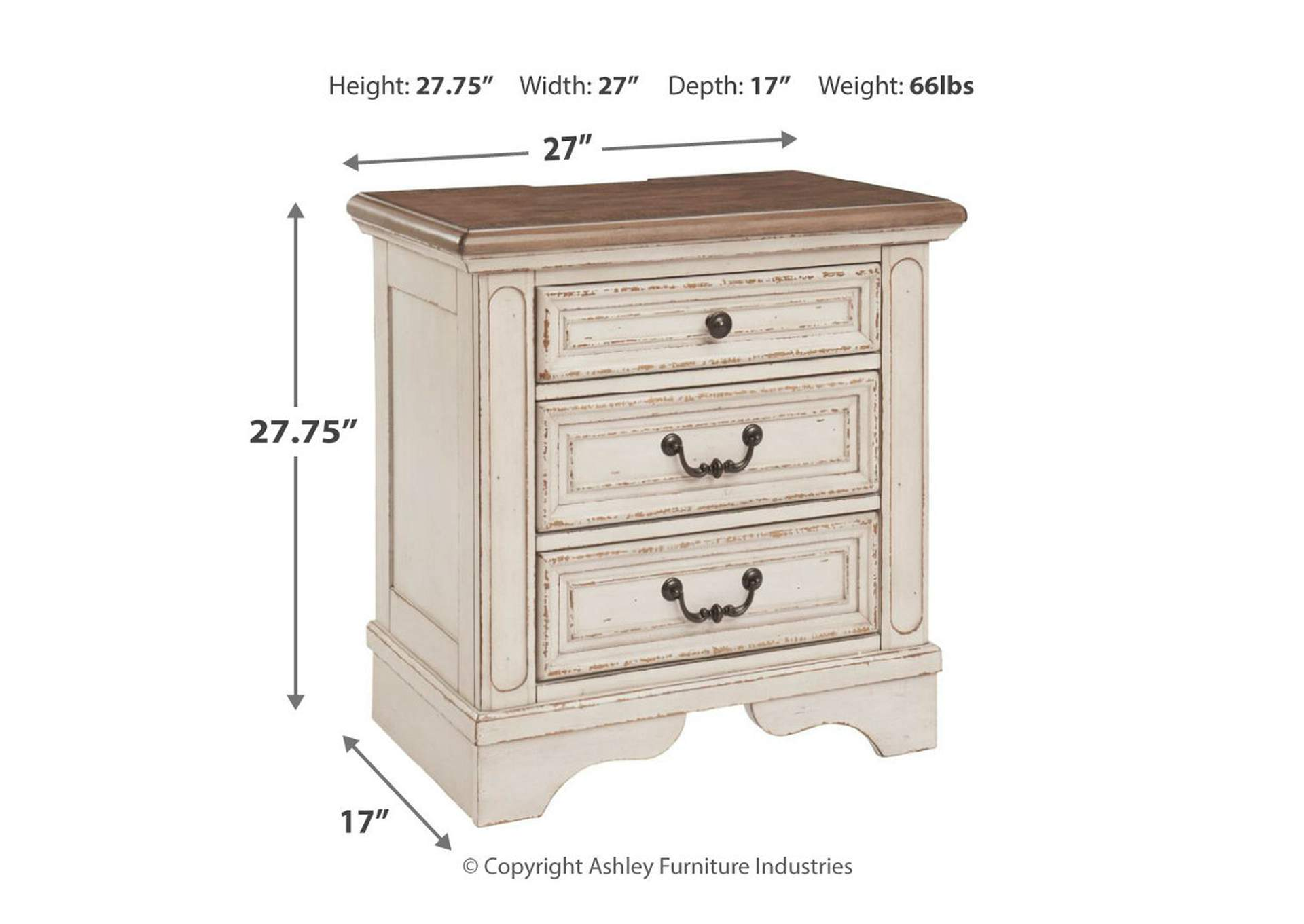 Realyn Two Tone Three Drawer Nightstand,Direct To Consumer Express