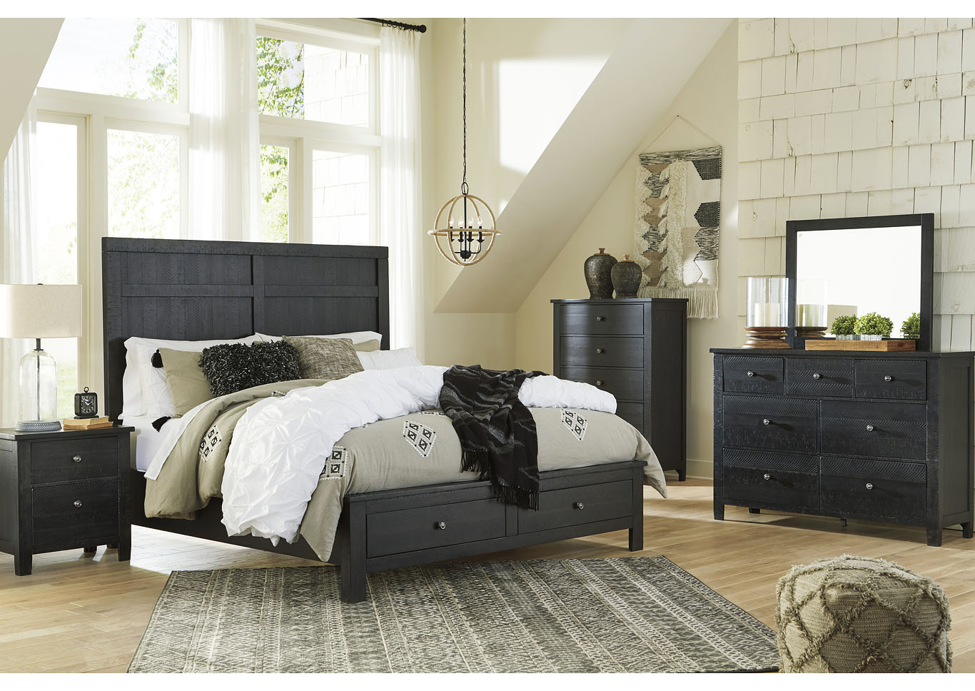 Noorbrook Black Queen Storage Bed w/Dresser and Mirror,Benchcraft