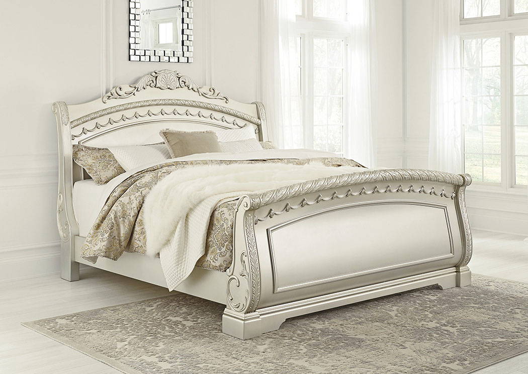 Cassimore Pearl Silver California King Sleigh Bed,Signature Design By Ashley
