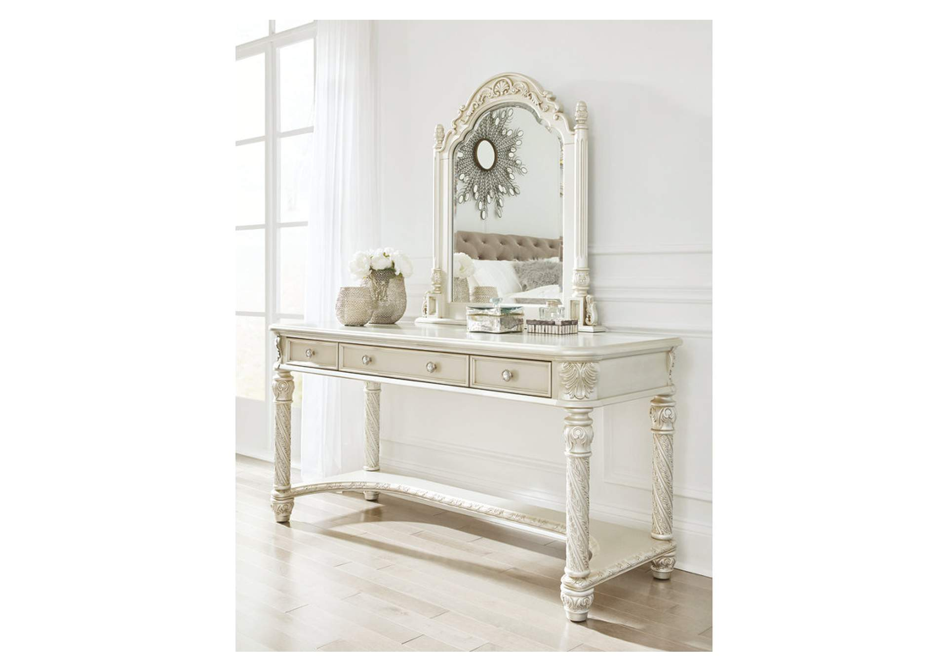 Cassimore Pearl Silver Vanity and Mirror,Signature Design By Ashley