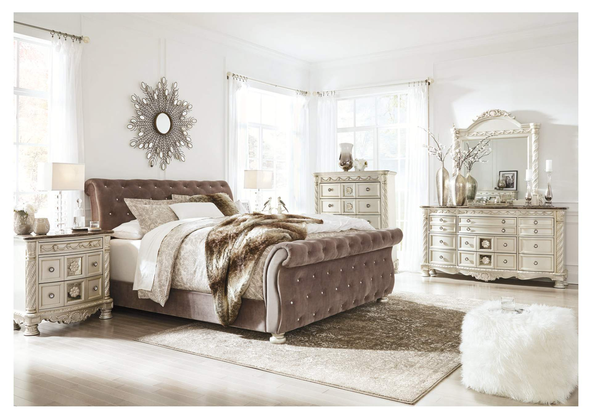 Cassimore Pearl Silver Queen Upholstered Bed w/Dresser, Mirror, Drawer Chest & Nightstand,Signature Design By Ashley