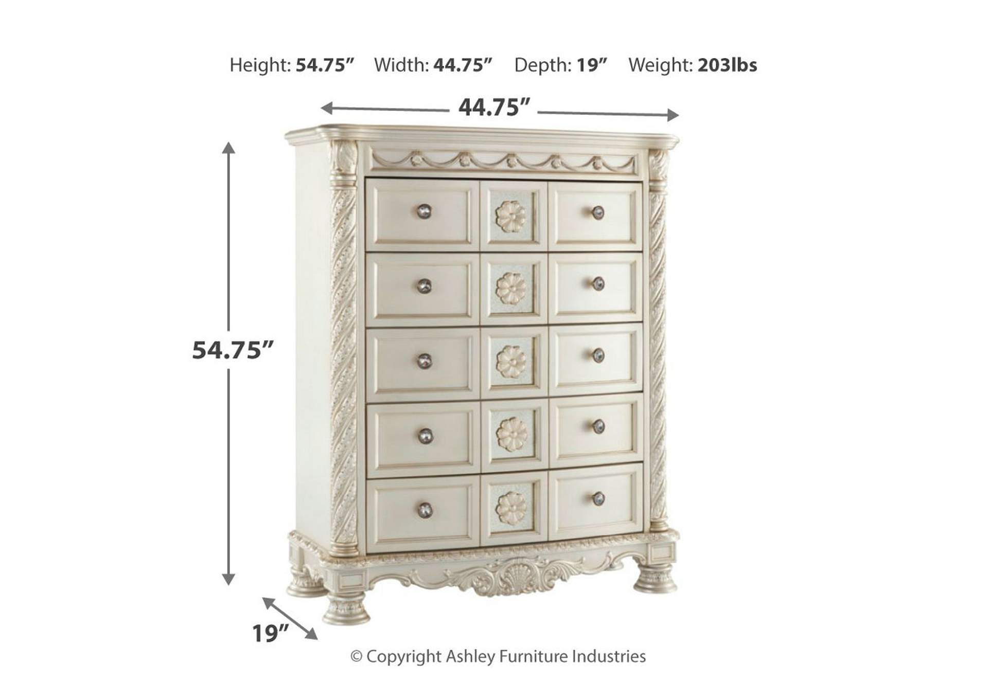 Cassimore Pearl Silver Five Drawer Chest,Signature Design By Ashley