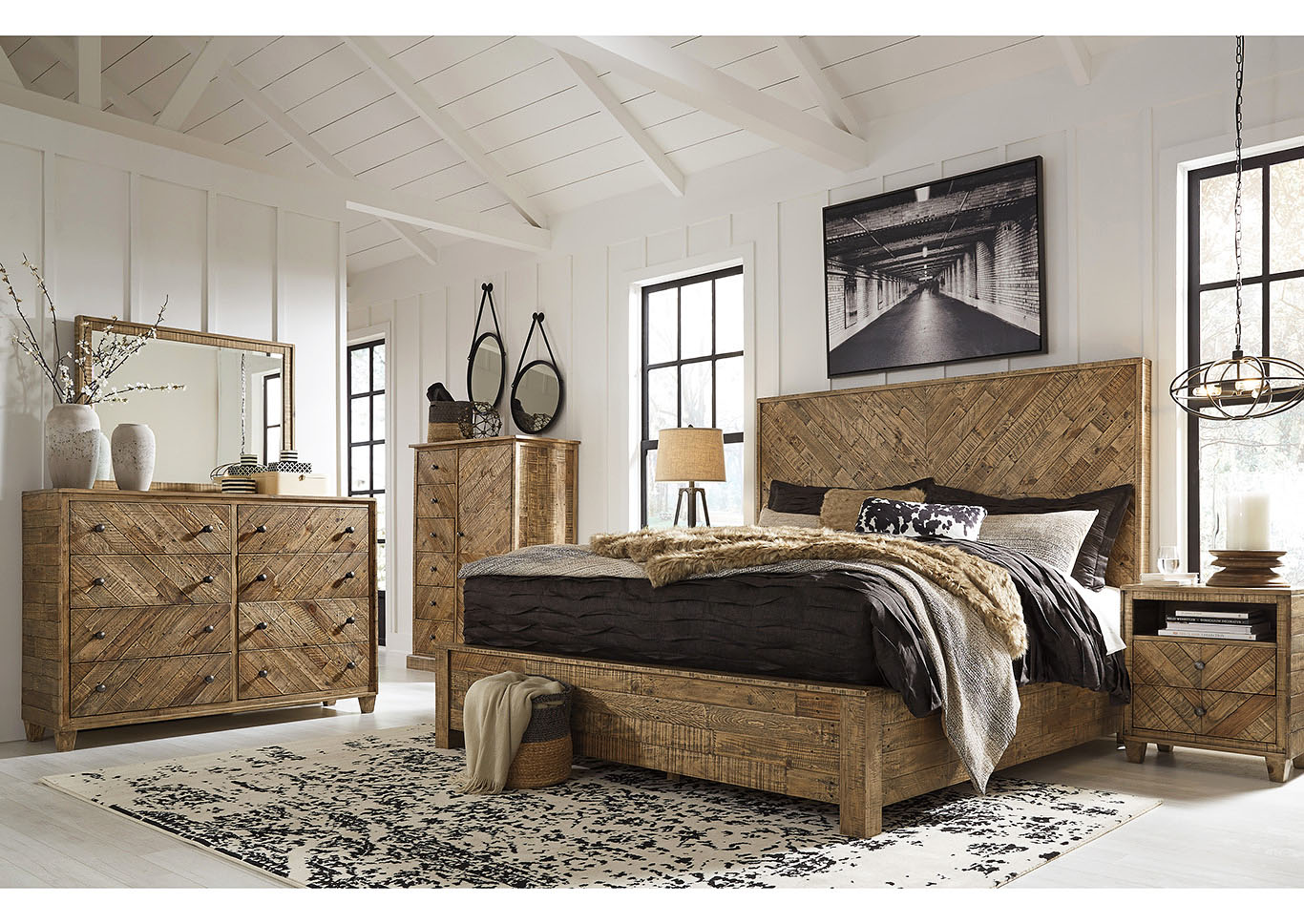 Grindleburg Light Brown California King Platform Bed and Dresser w/Mirror,Signature Design By Ashley