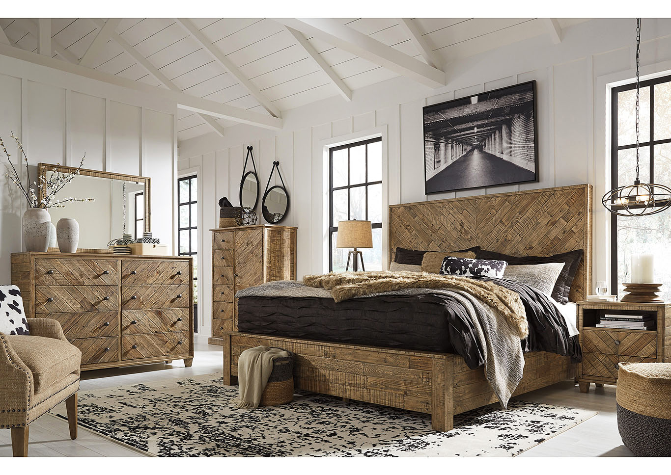 Grindleburg Light Brown Queen Platform Bed w/Dresser and Mirror,Signature Design By Ashley