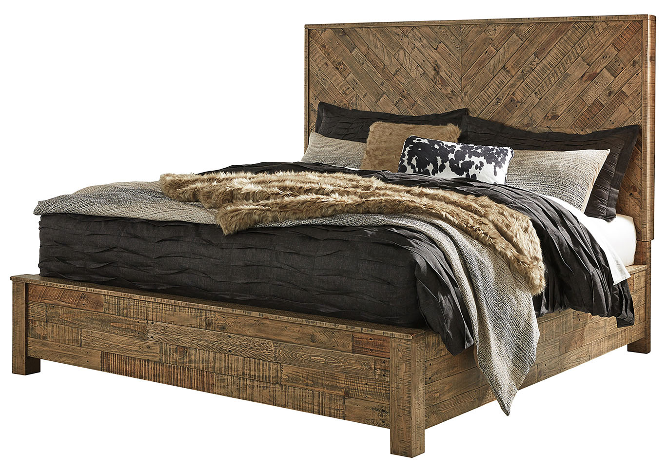 Grindleburg Light Brown Queen Platform Bed,Signature Design By Ashley